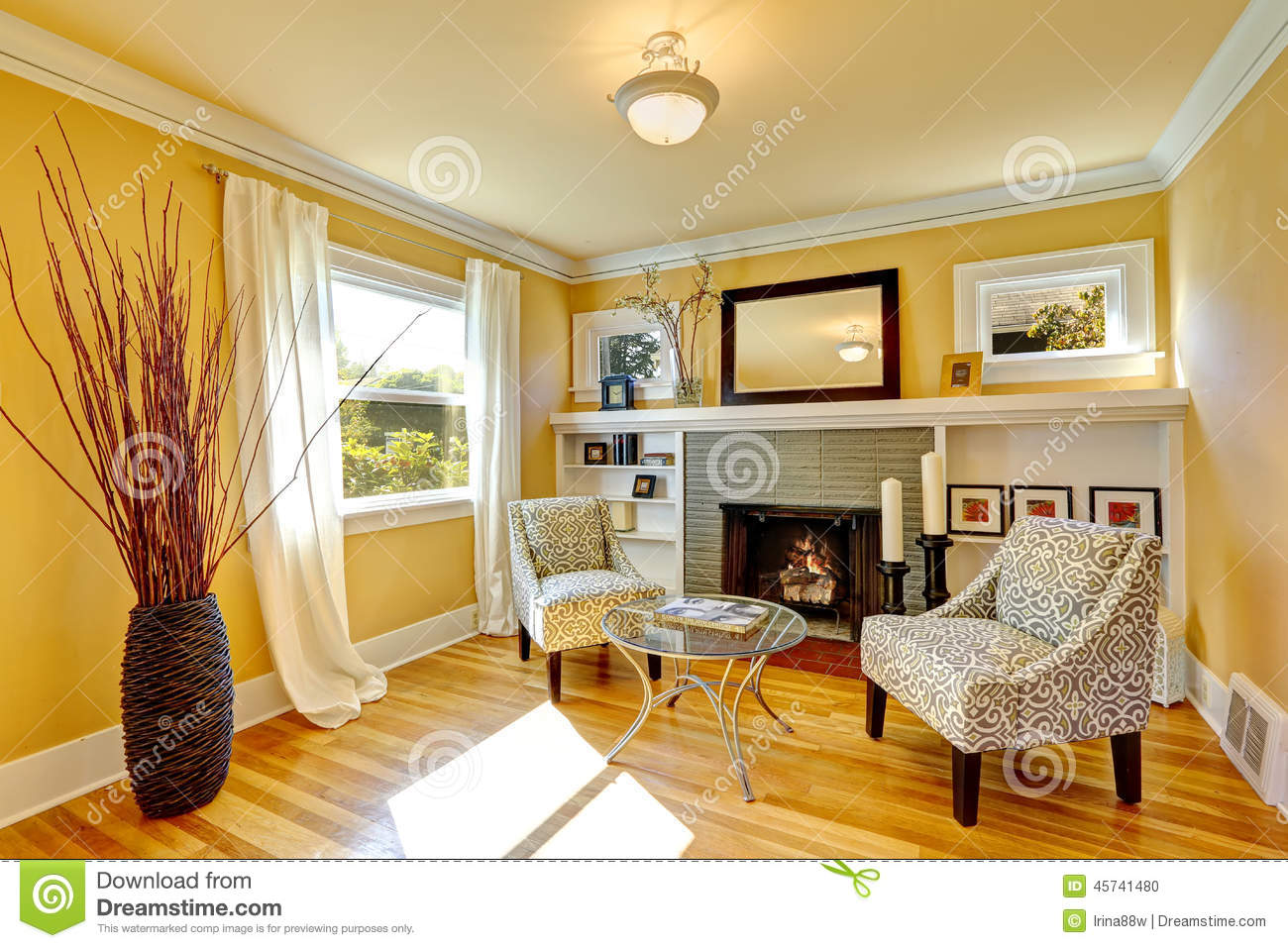 Cozy Sitting Area By The Fireplace Stock Photo
