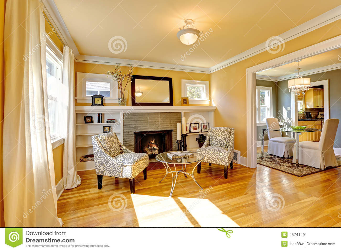 Cozy Sitting Area By The Fireplace Stock Image