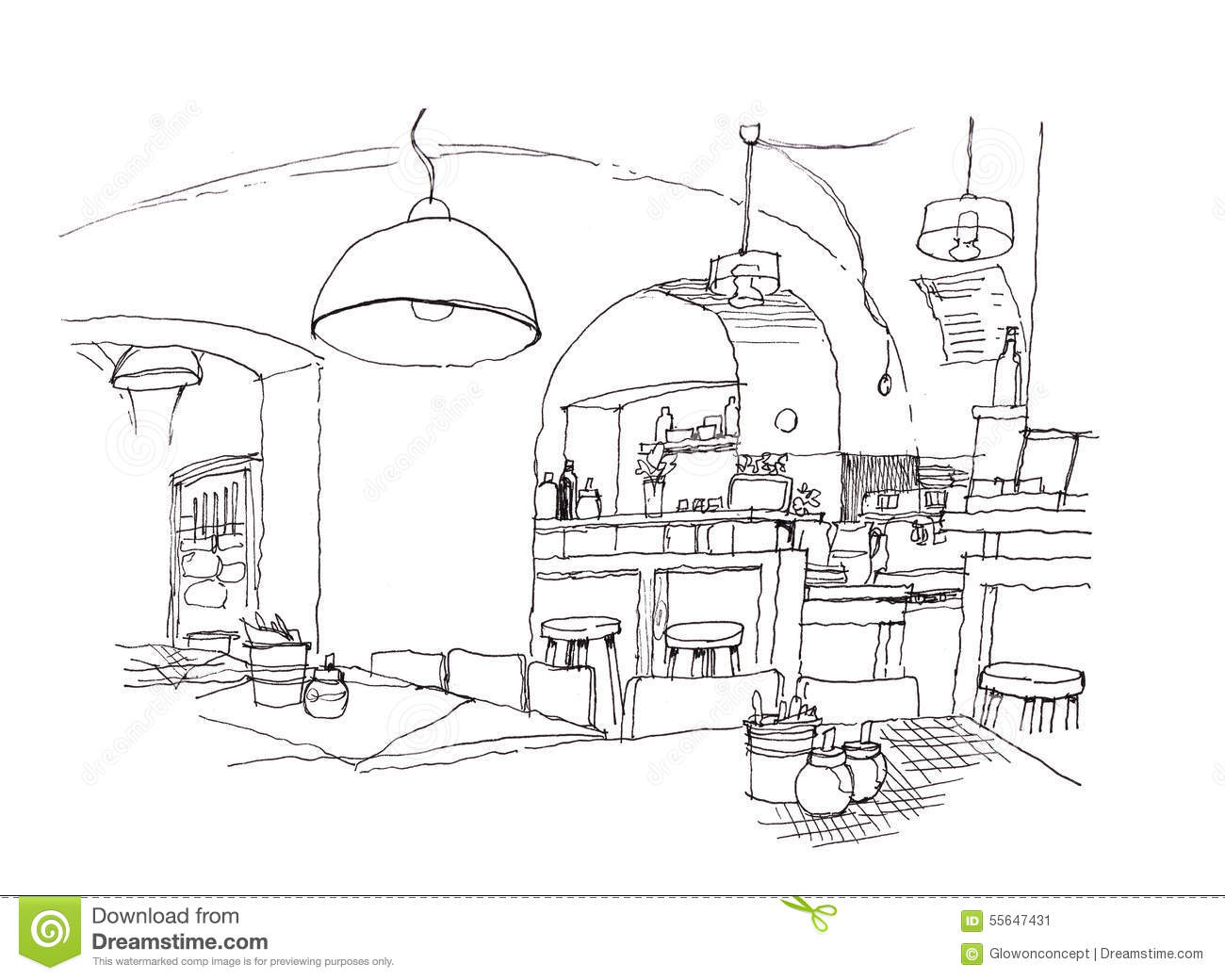 Cozy Small Cafe Interior Hand Drawing Illustration Stock