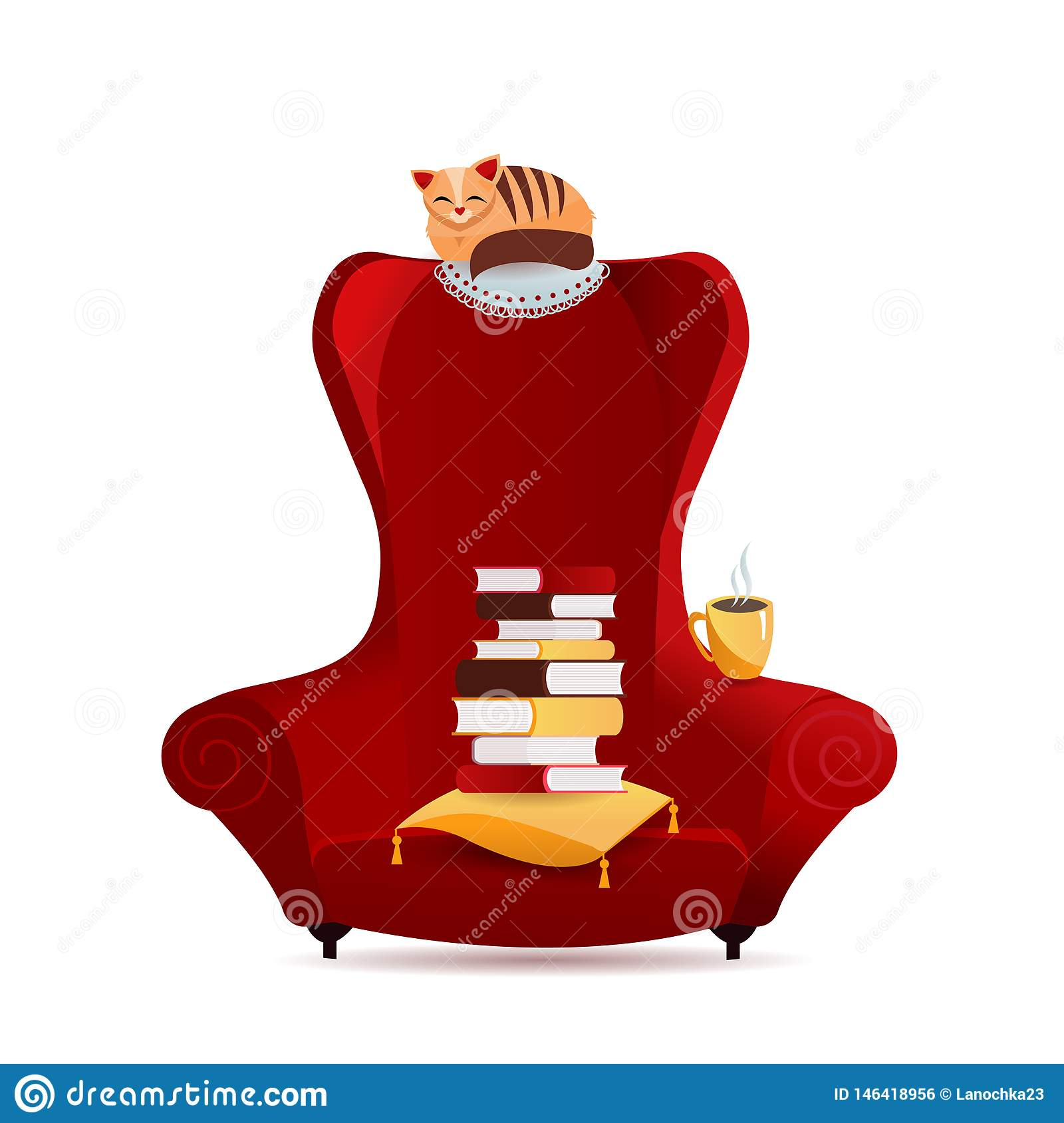 Cozy vintage armchair with stack of books, cat character lying on backrest chair, tea mag.Interior element of home library.