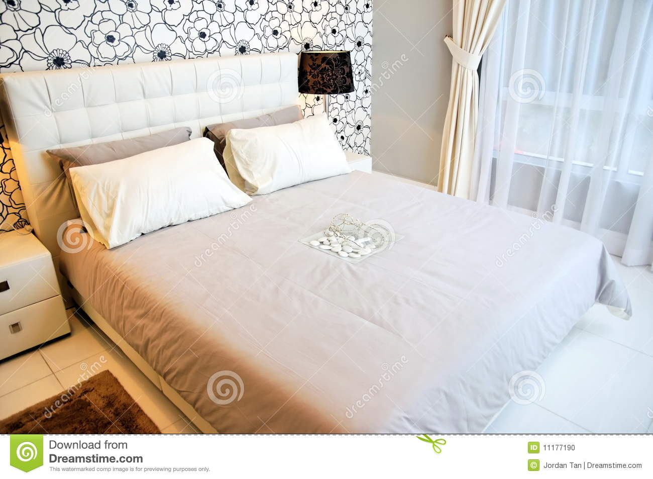 Cozy And Well Furnished Bedroom Stock Photo Image Of Furnish White 11177190