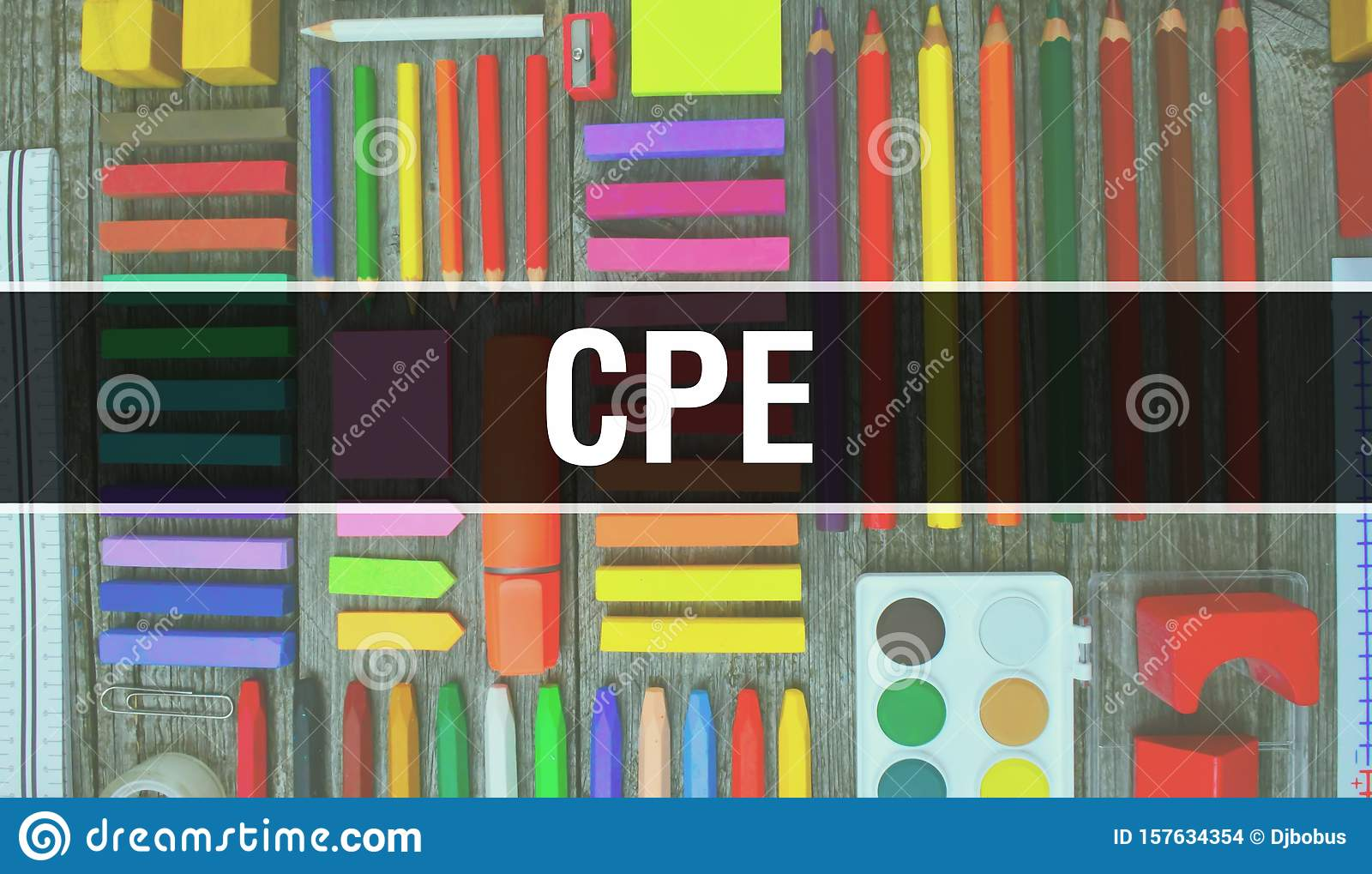 Cpe Text With Back To School Wallpaper Cpe And School Education Background Concept School Stationery And Cpe Text Banner With Stock Photo Image Of Design Banner 157634354