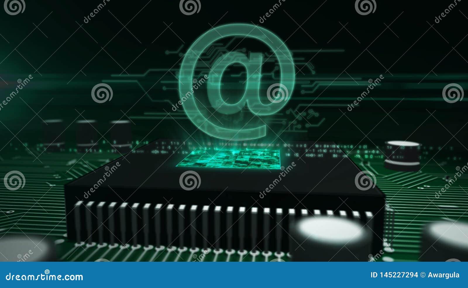 CPU a bordo con en - el holograma del correo