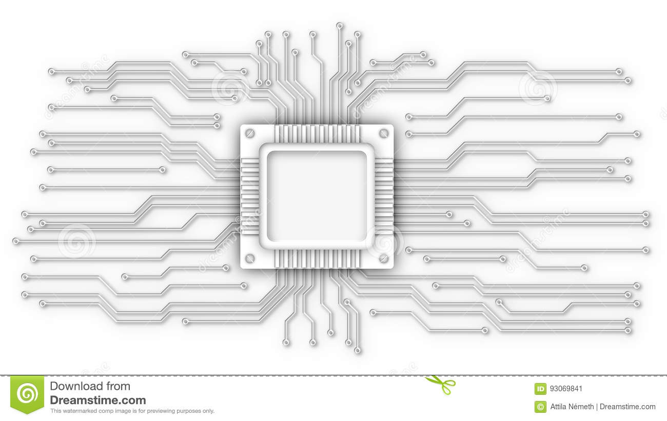 Cpu And Circuit Lines Stock Illustration Of Hardware Diagram