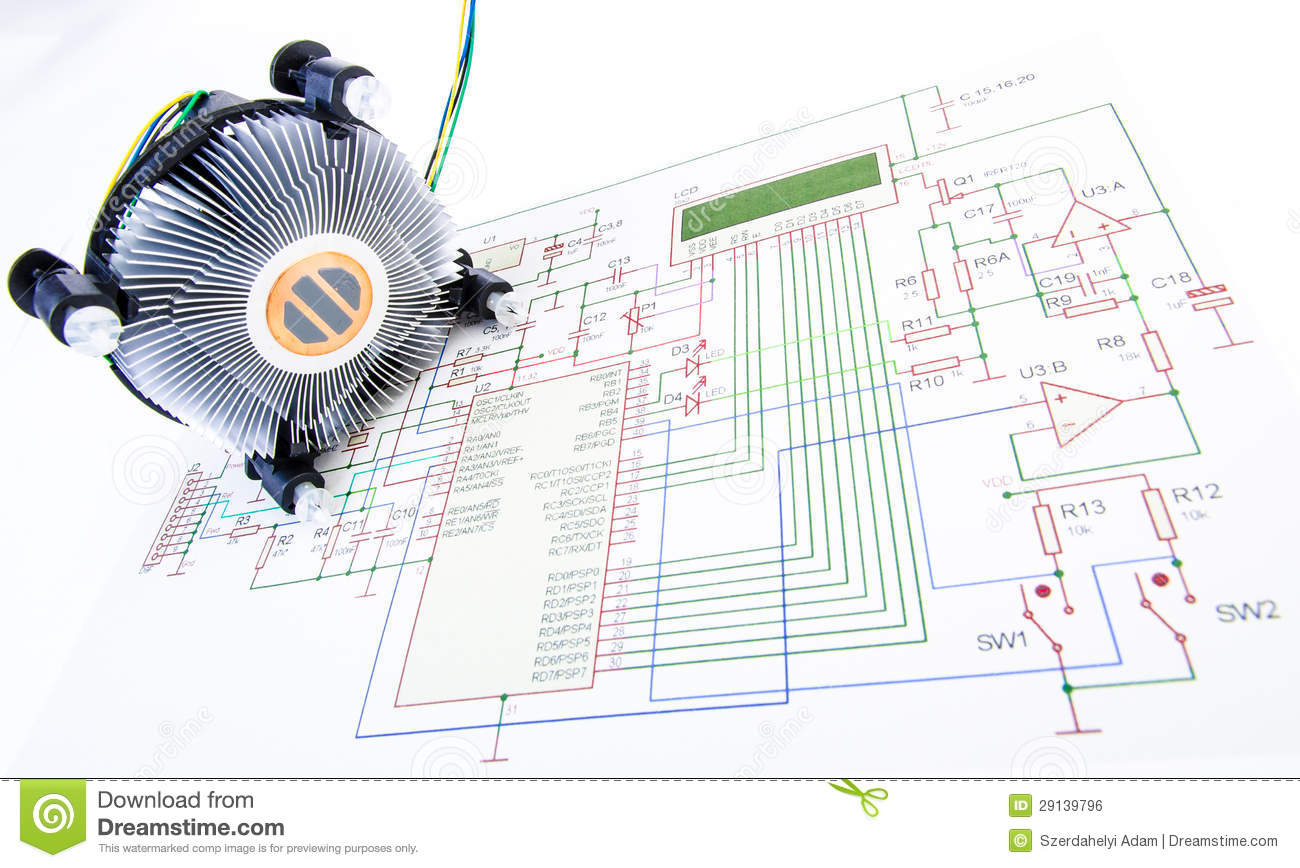 Cpu Cooler With Electronic Diagram Royalty Free Stock