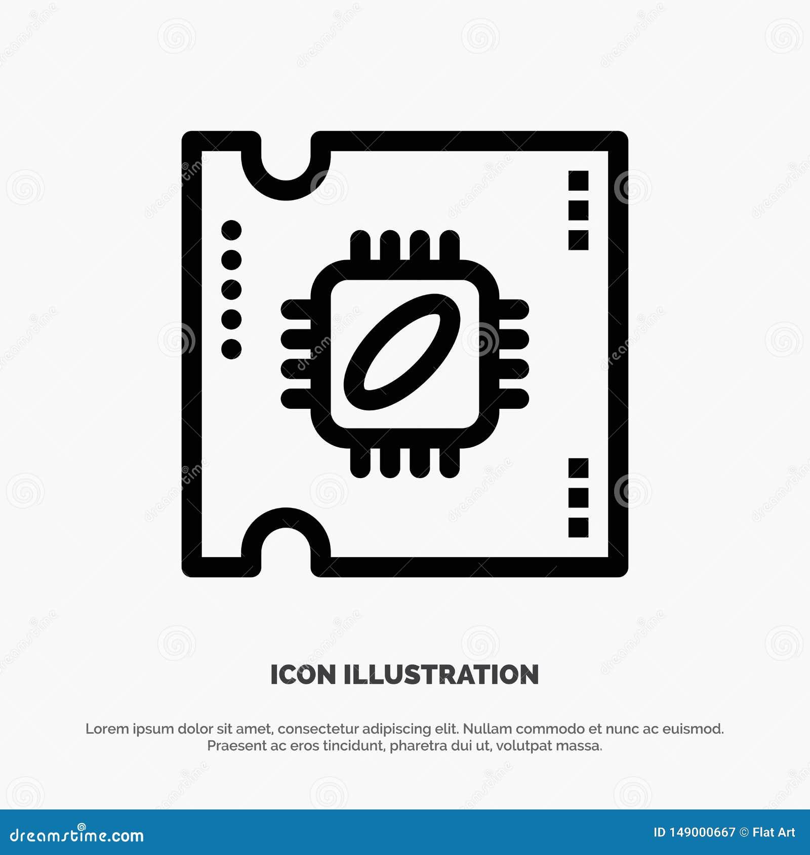 CPU, microchip, procesador, procesador Chip Line Icon Vector