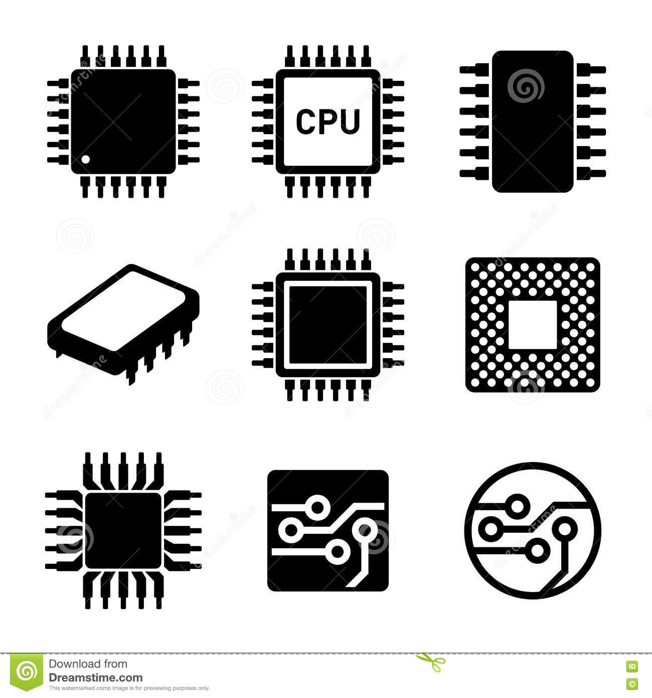 cpu microprocessor and chips icons set  vector vector