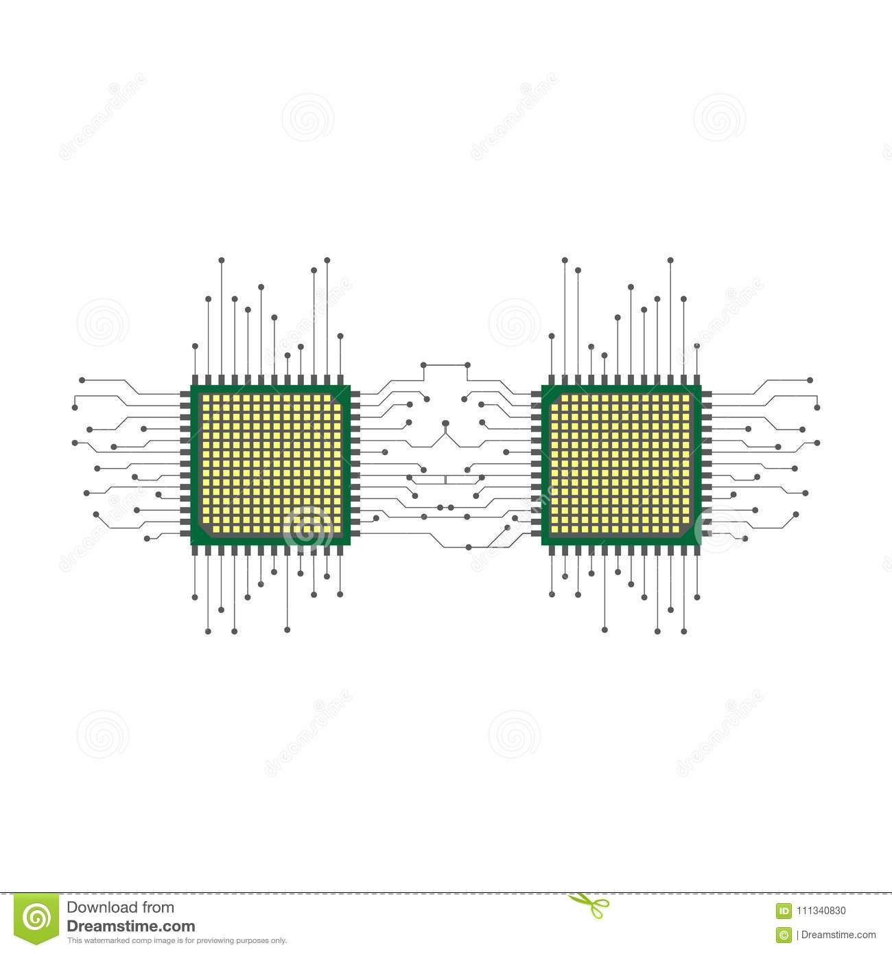 Cpu Microprocessor Microchip Circuit Board Stock Vector Diagram