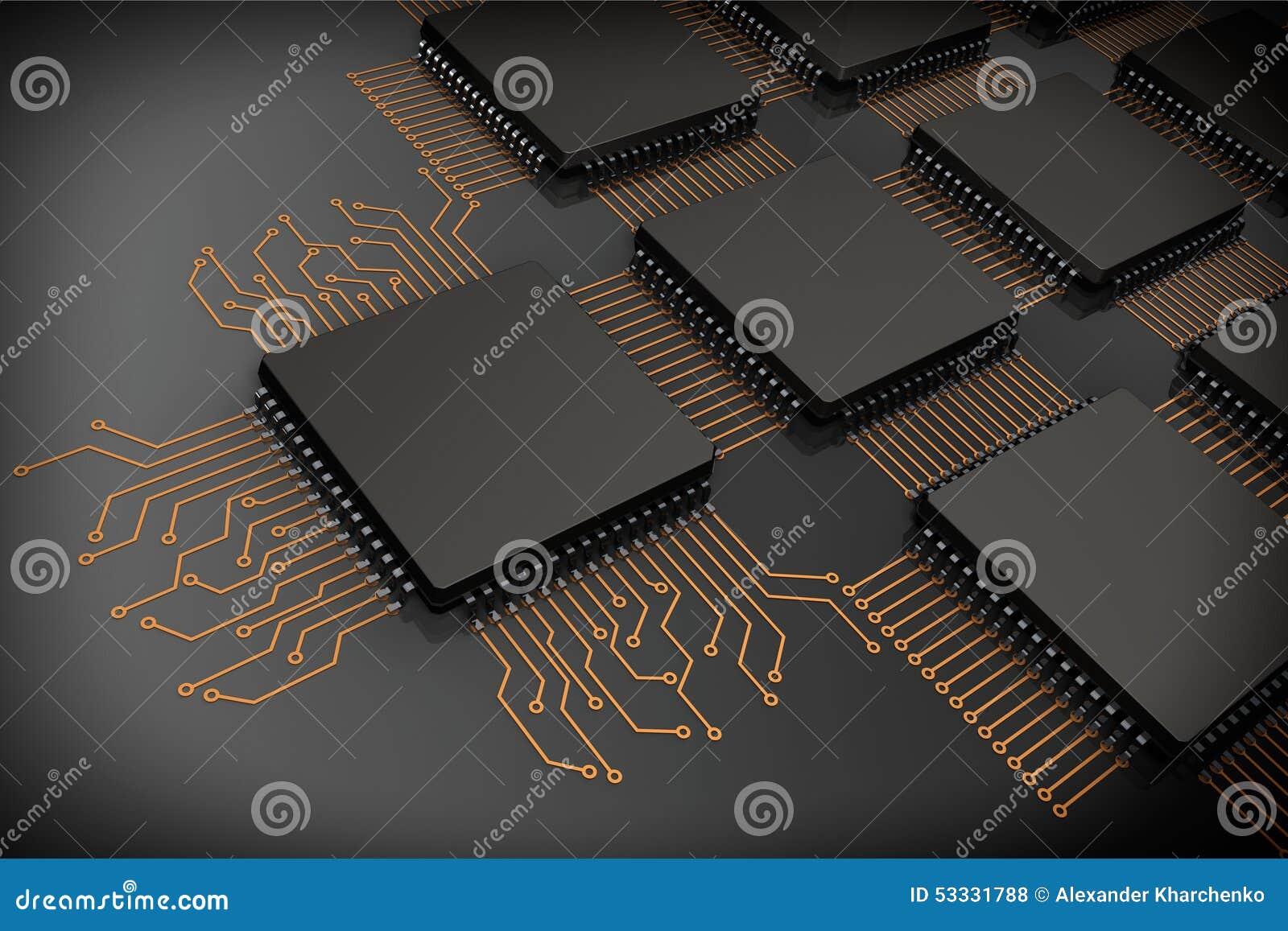 CPU-mikrochipers som strömkretsen