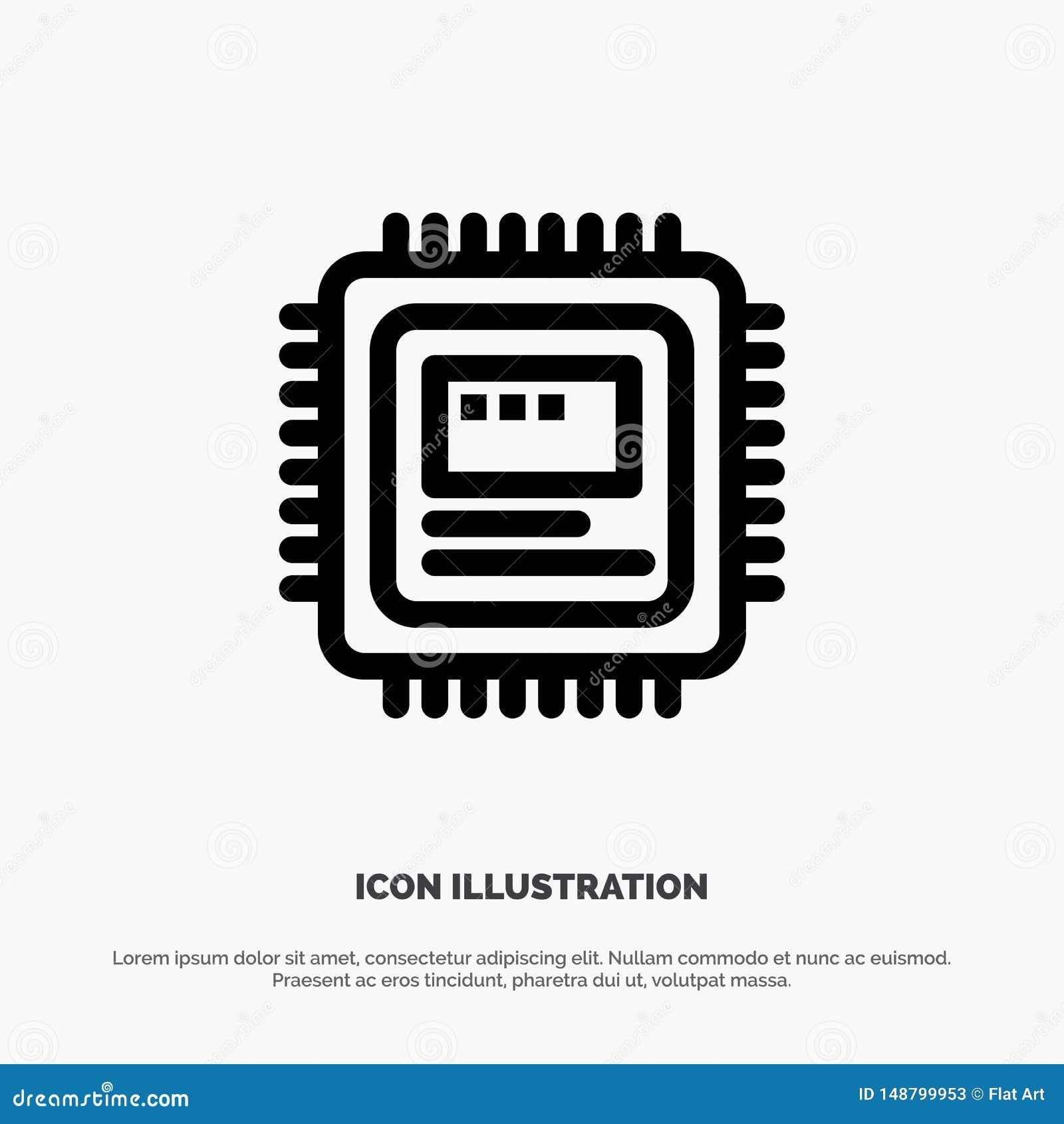 Cpu, Storage, Computer, Hardware Vector Line Icon