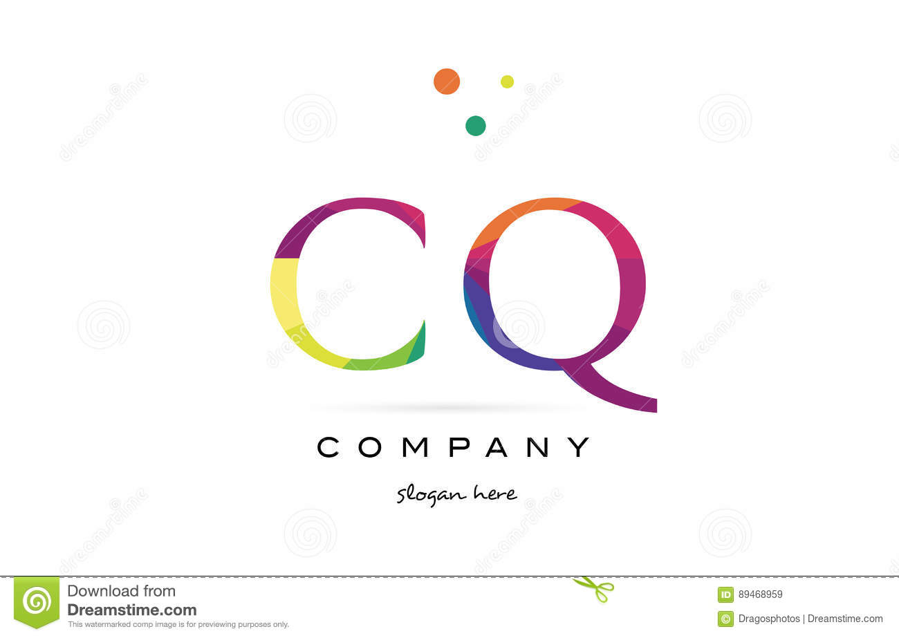 cq c q creative rainbow colors alphabet letter logo icon