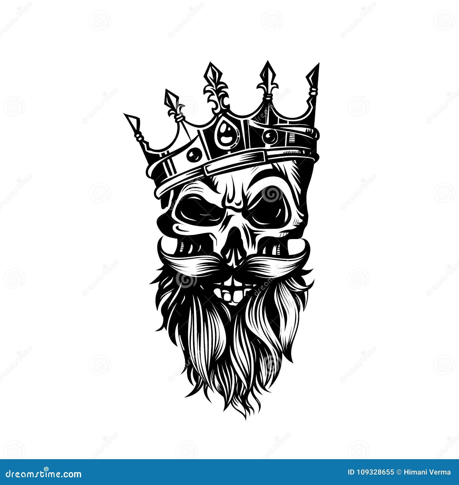 Cráneo Blanco Y Negro En Corona Con El Ejemplo Del Vector De La