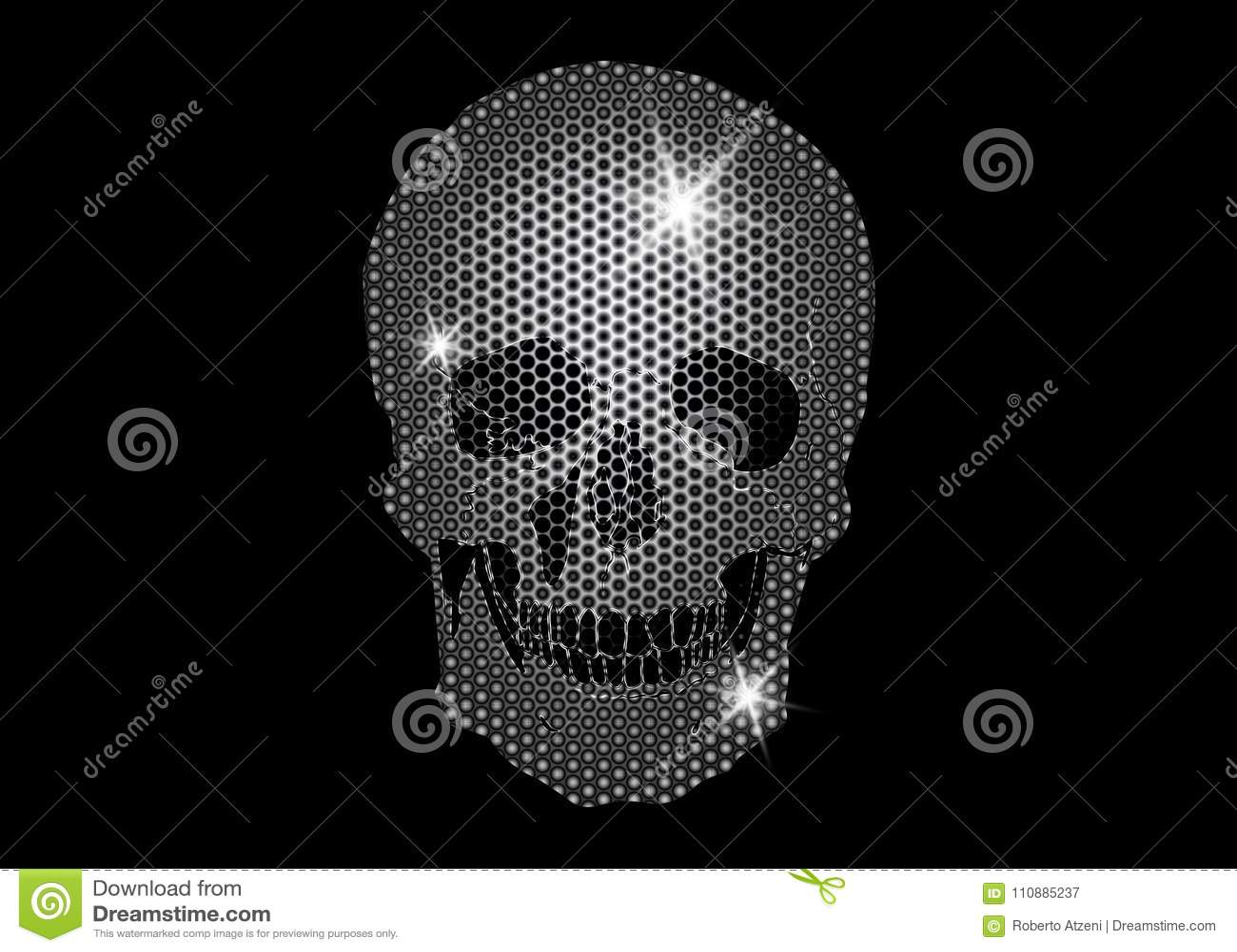 339364633668 Cráneo brillante de las estrellas que brillan del platino y de los  diamantes Colección metálica del