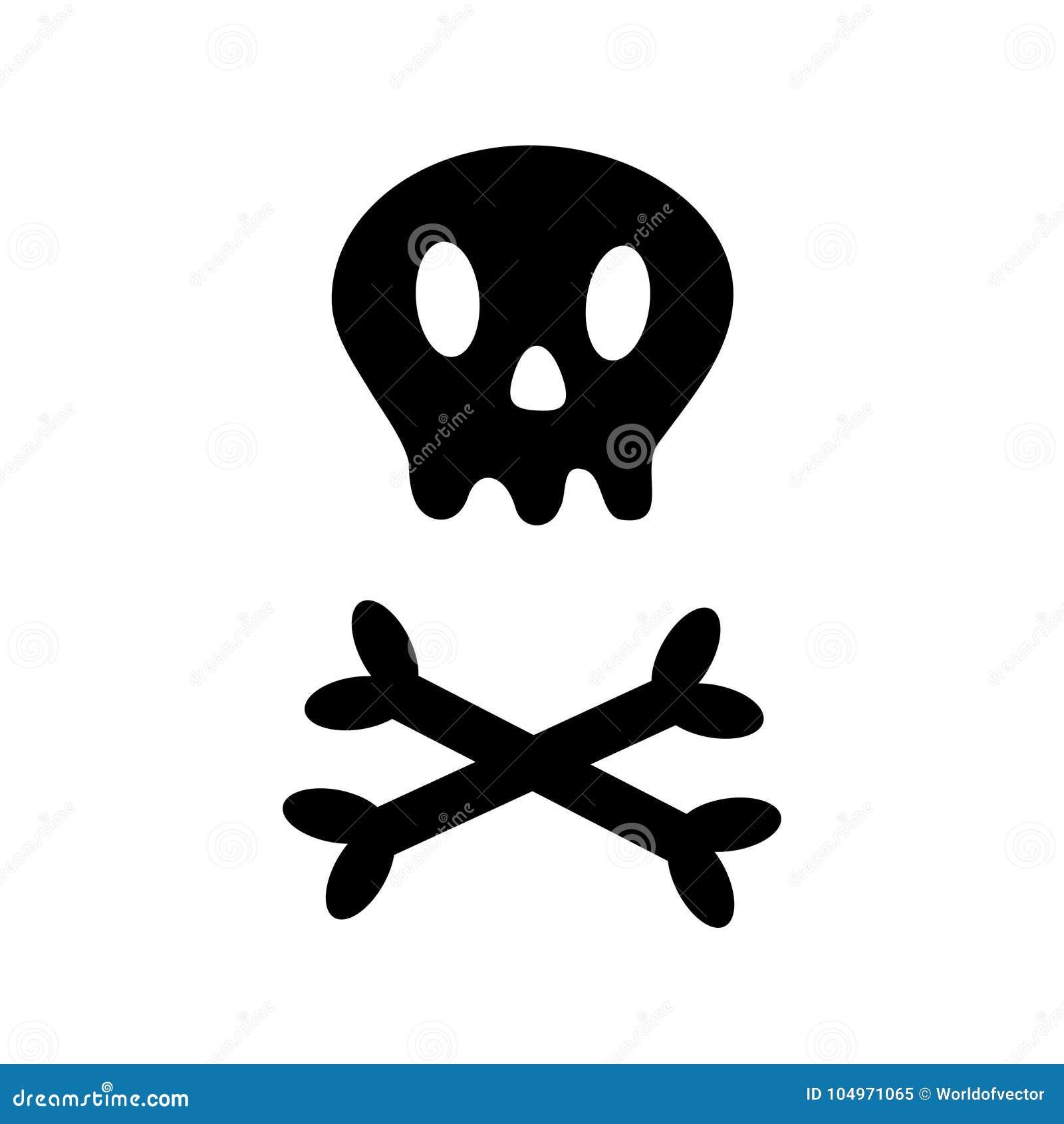 Cráneo Con Del Hueso Forma Del Icono De Través Bandera Pirata Blanca ...