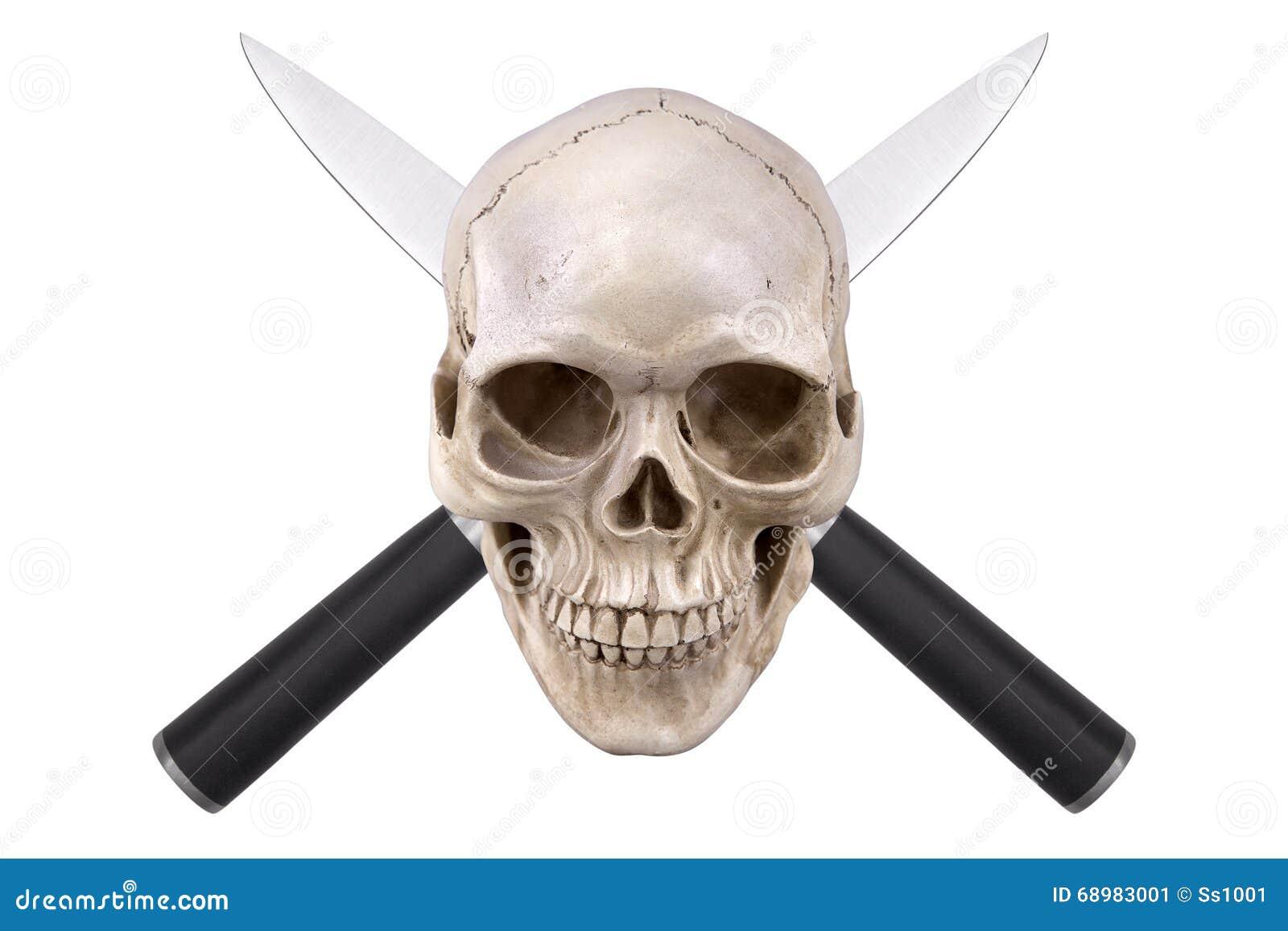 Cráneo con dos cuchillos cruzados