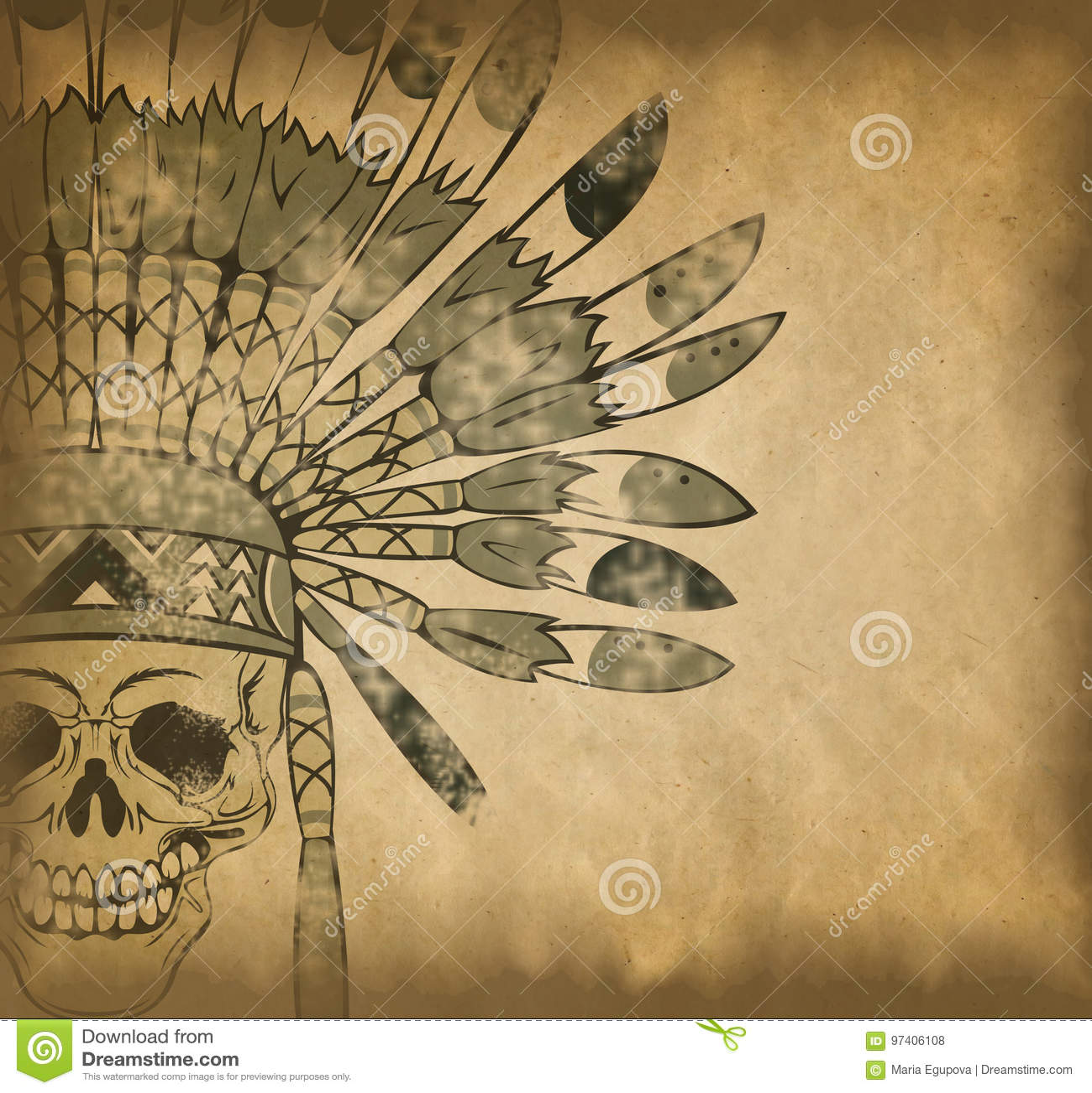 Cráneo Con El Tocado Indio En El Papel Viejo Stock de ilustración ...