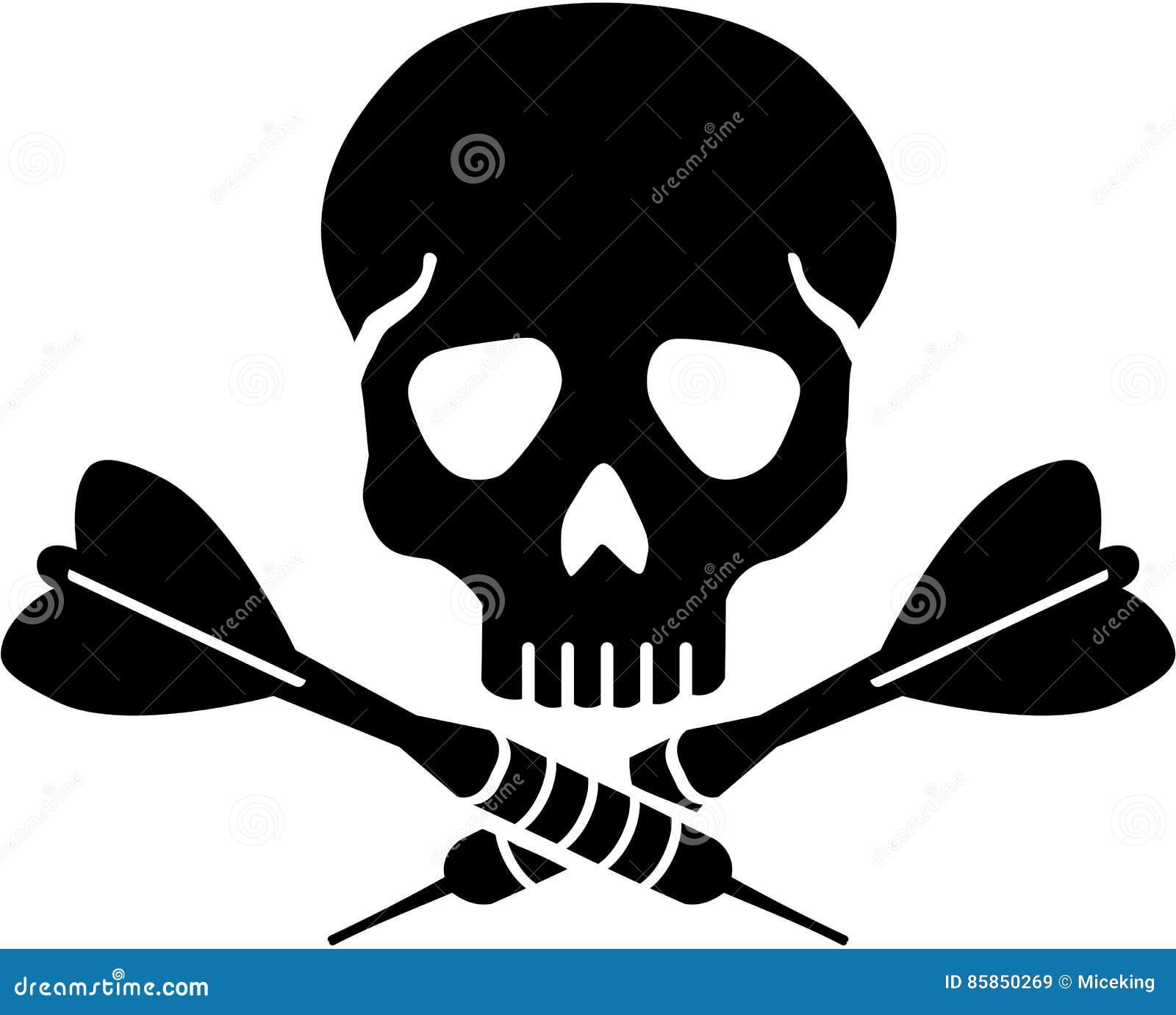 Cráneo con las flechas cruzadas de los dardos