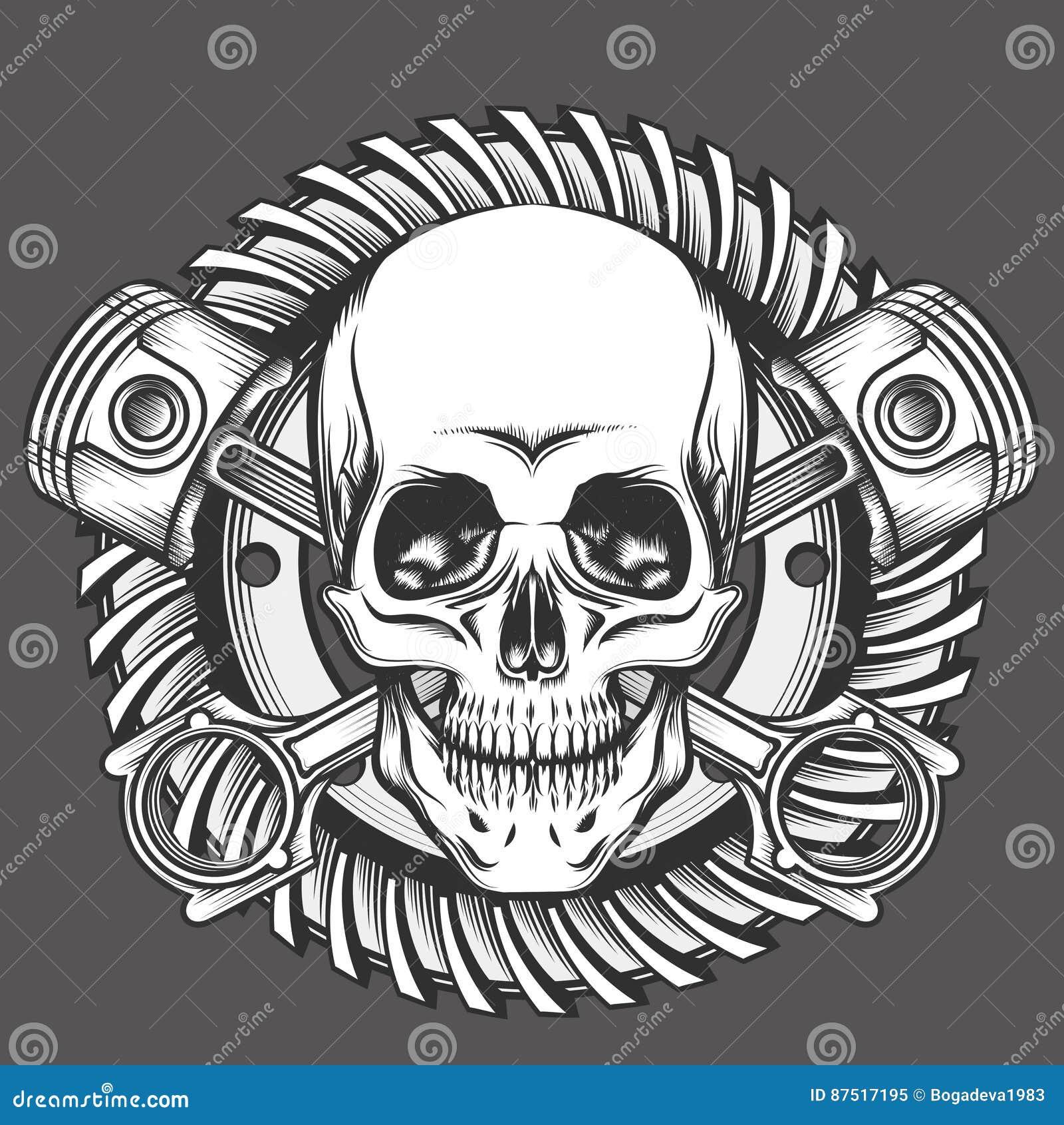 Cráneo con los pistones contra emblema del engranaje de la motocicleta