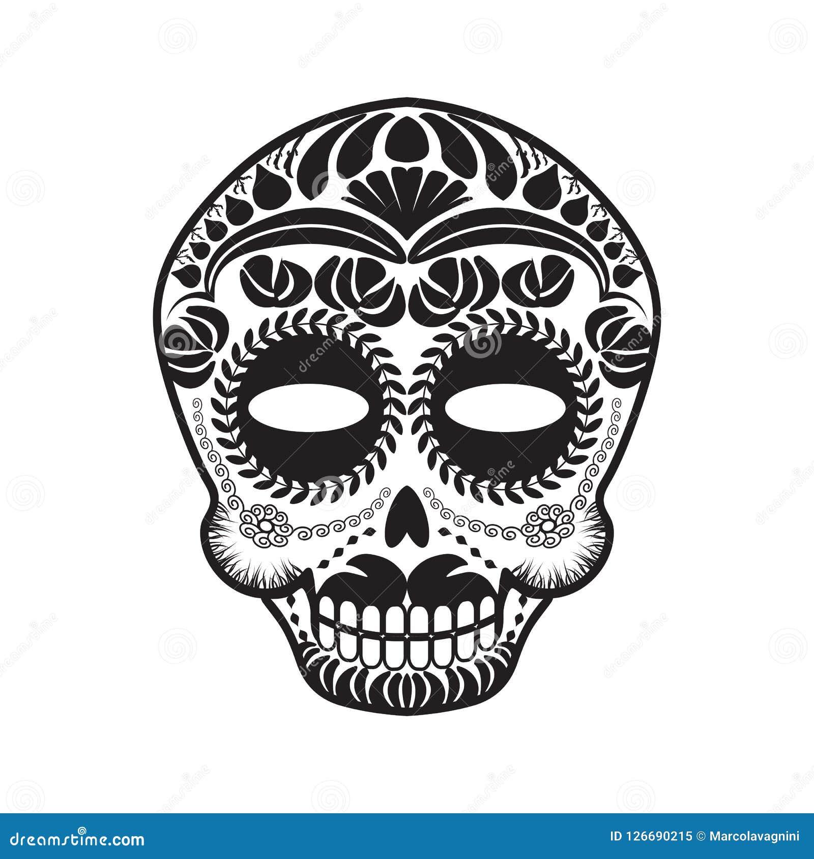 Cráneo De Calavera Del Mexicano Ilustración Del Vector Ilustración