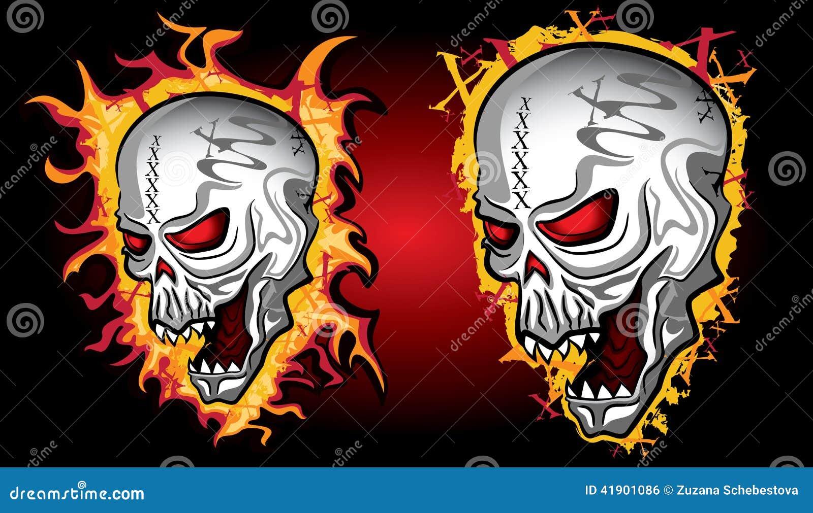 Cráneo de grito de Halloween del horror en llamas