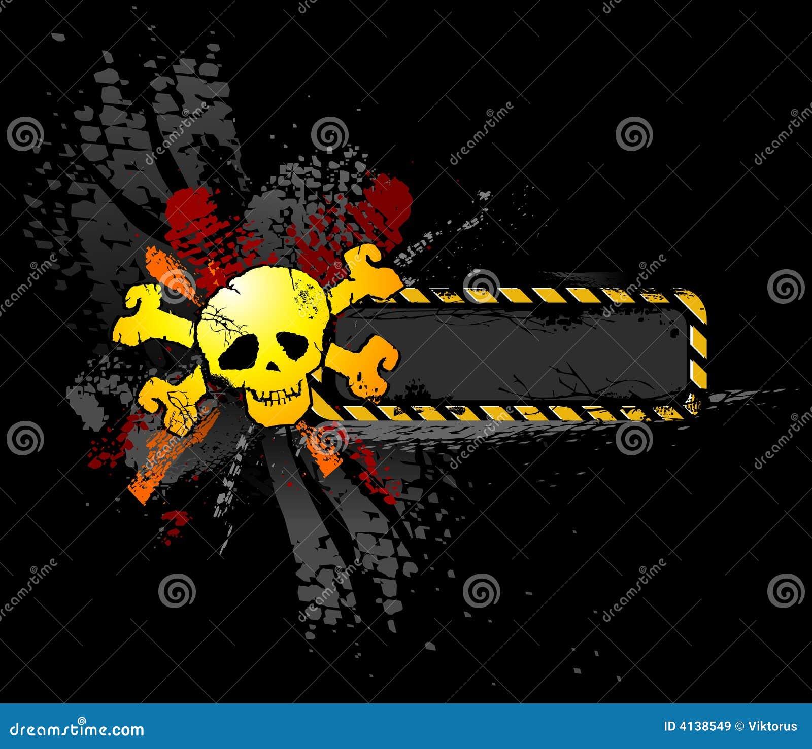 Cráneo de Grunge con la bandera del texto