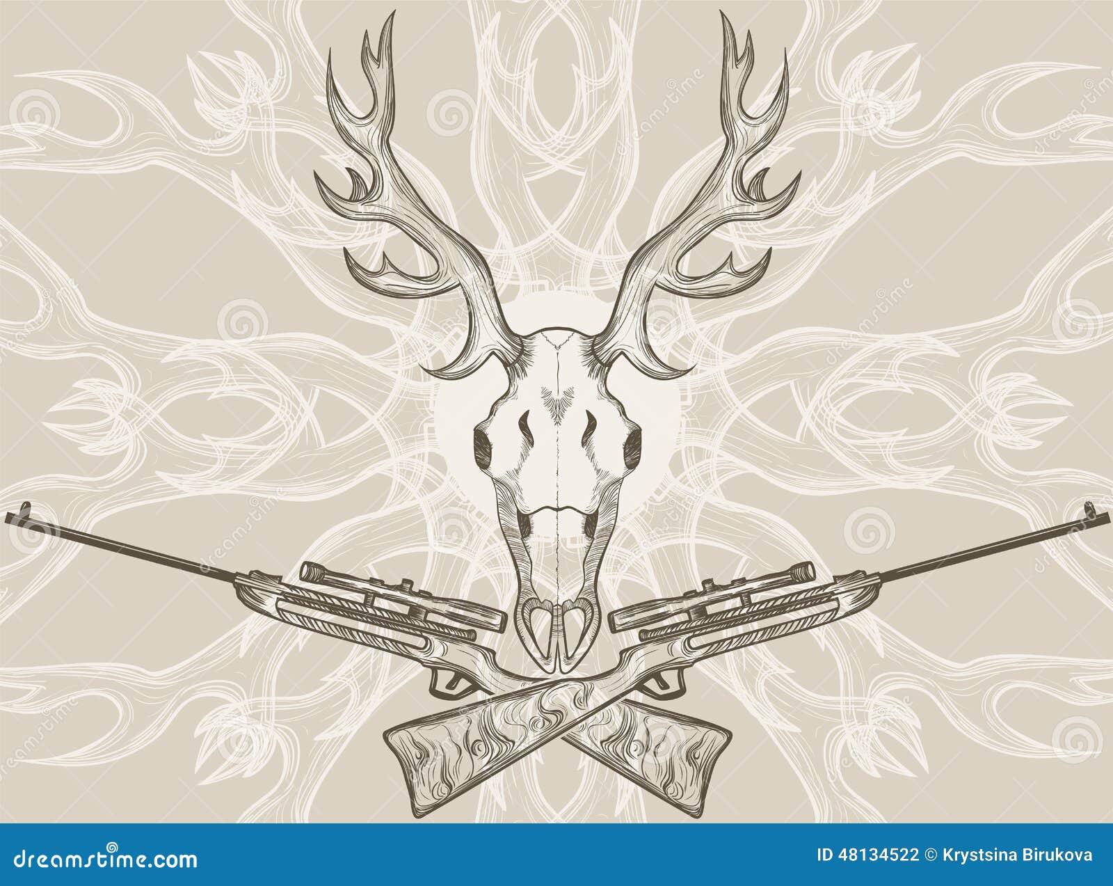 Cráneo De Los Ciervos Y Rifles Cruzados Ilustración del Vector ...