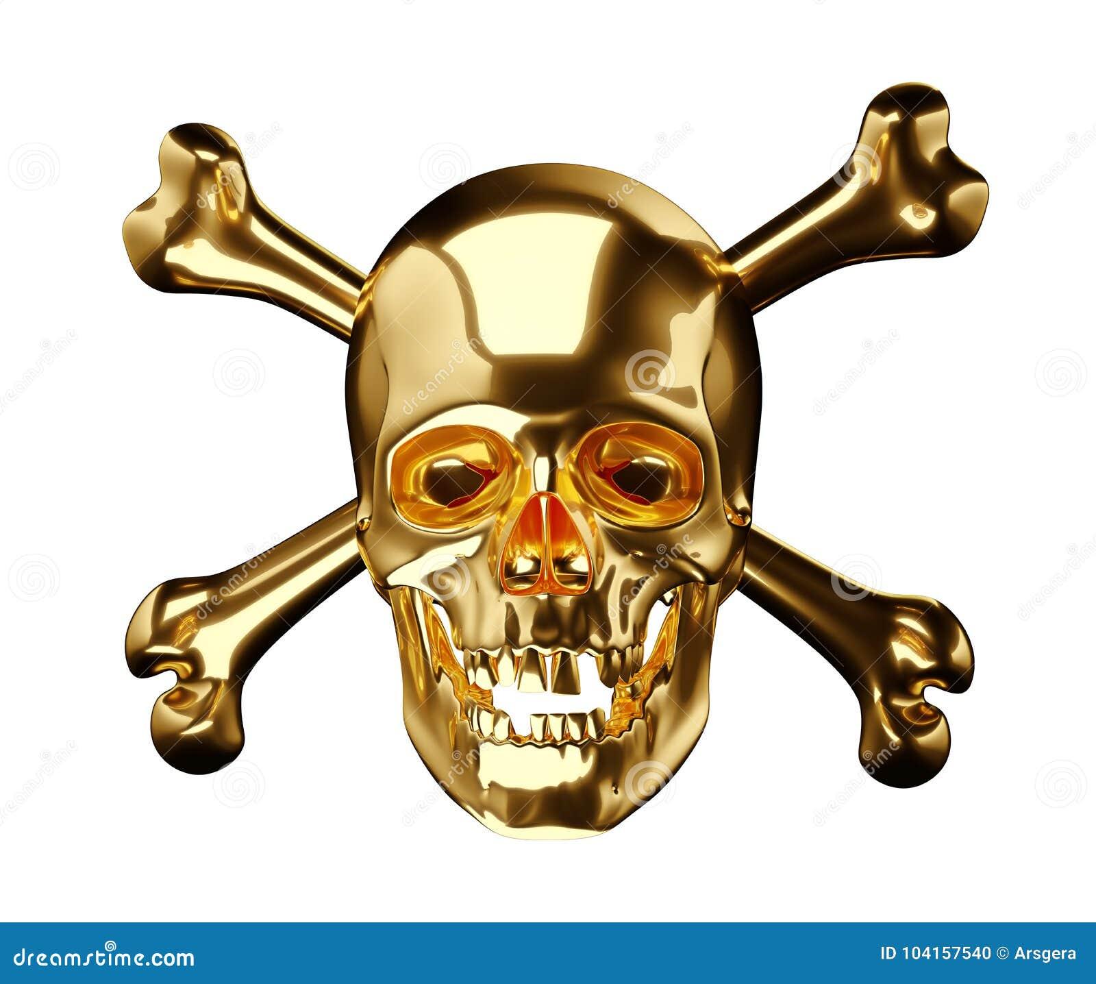 Cráneo De Oro Con Los Huesos Cruzados O Totenkopf En Blanco Stock de ...