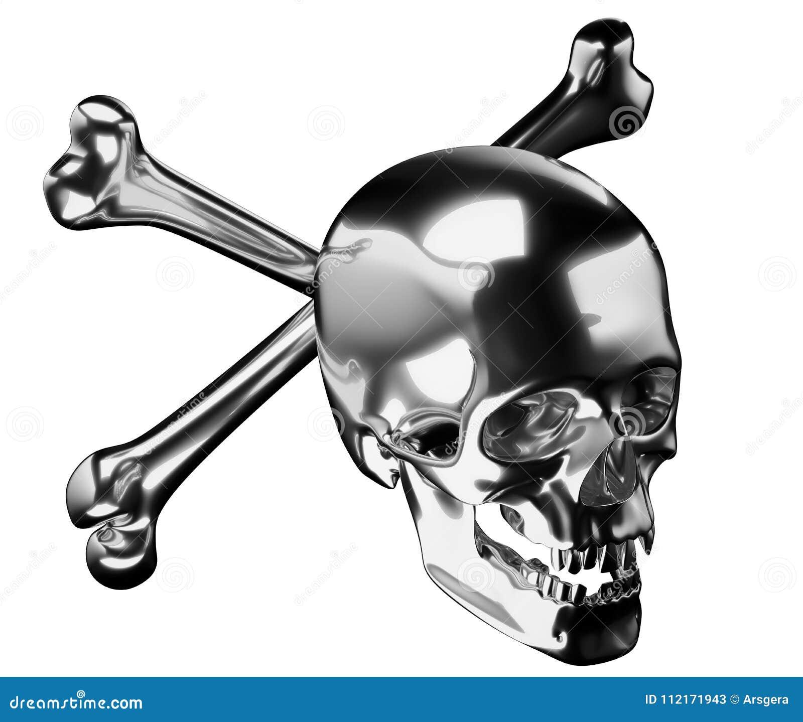 Cráneo De Plata Con Los Huesos O El Totenkopf Cruzados Stock de ...