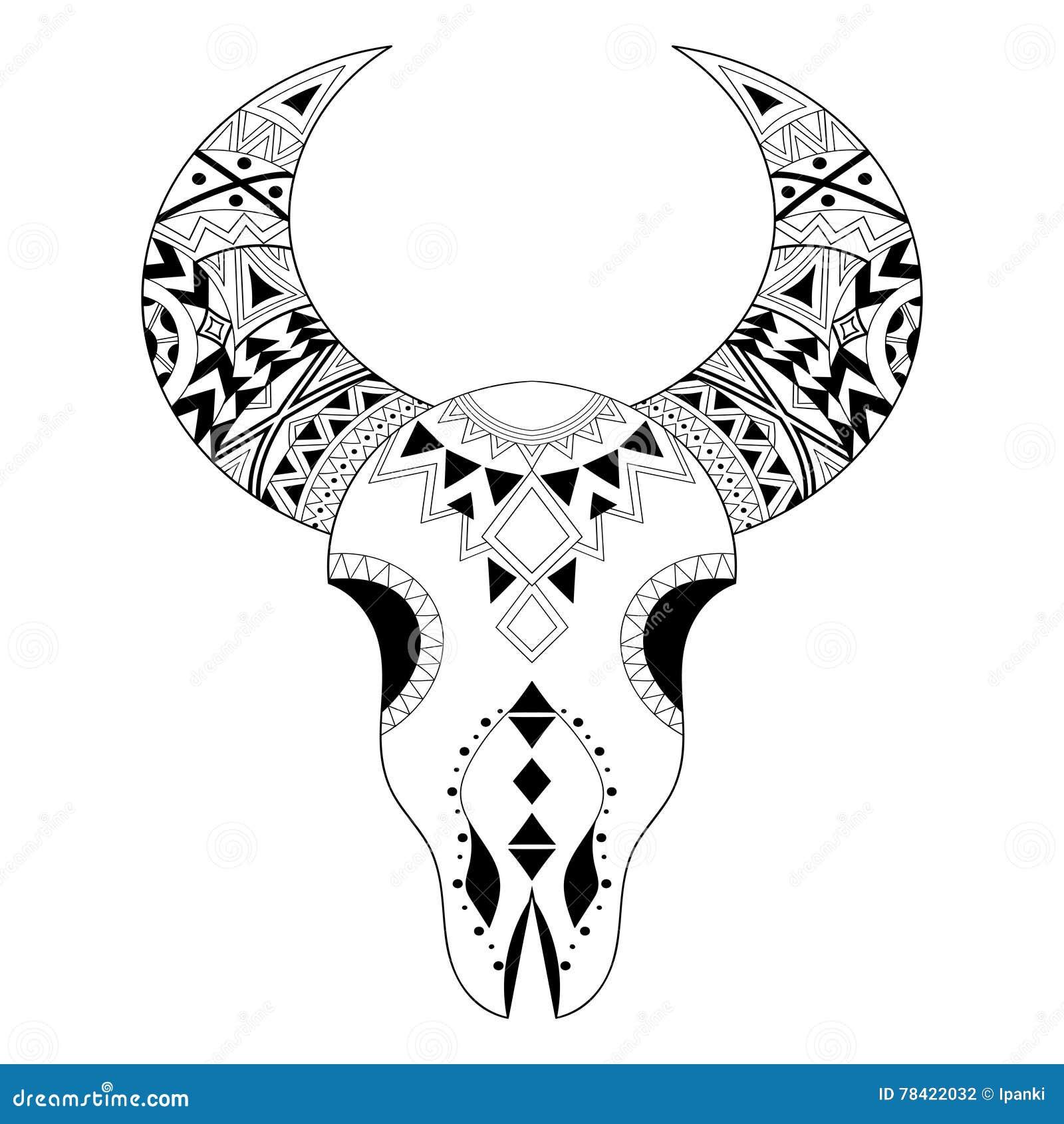 Cráneo Del Animal De Zentangle Boho A Pulso, Bosquejo Tribal Para El ...