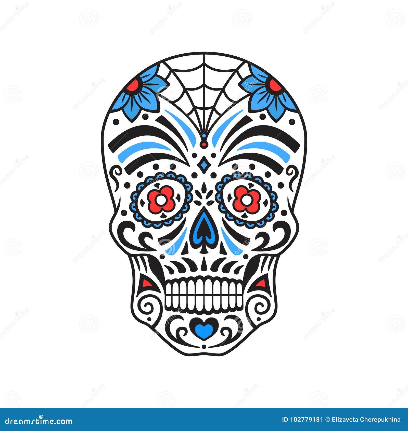 Cráneo Del Azúcar Tatuaje Colorido Día Mexicano De Los Muertos ...
