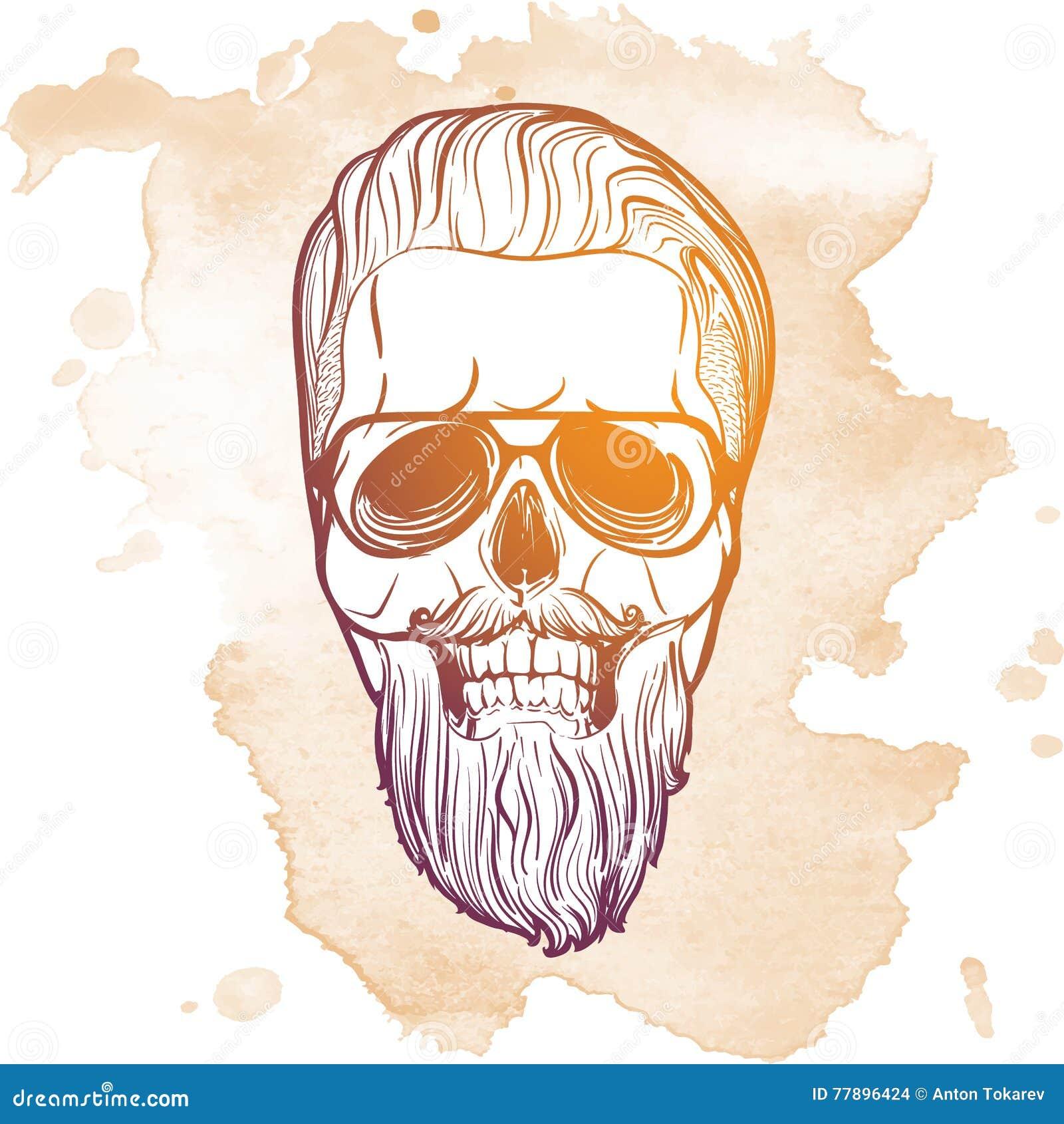 Cráneo Del Inconformista En Barba Y Bigote Foto de archivo - Imagen ...