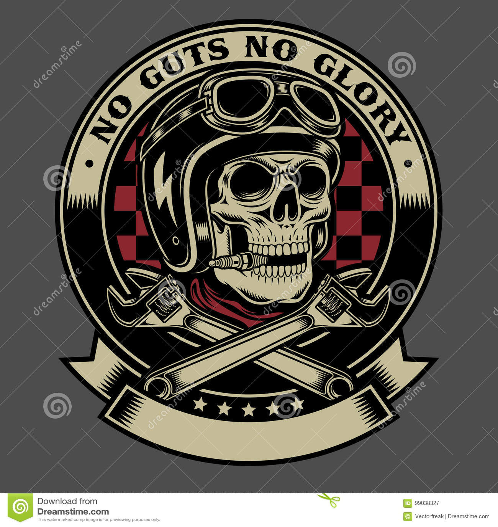 Cráneo del motorista del vintage con el emblema cruzado de las llaves inglesas