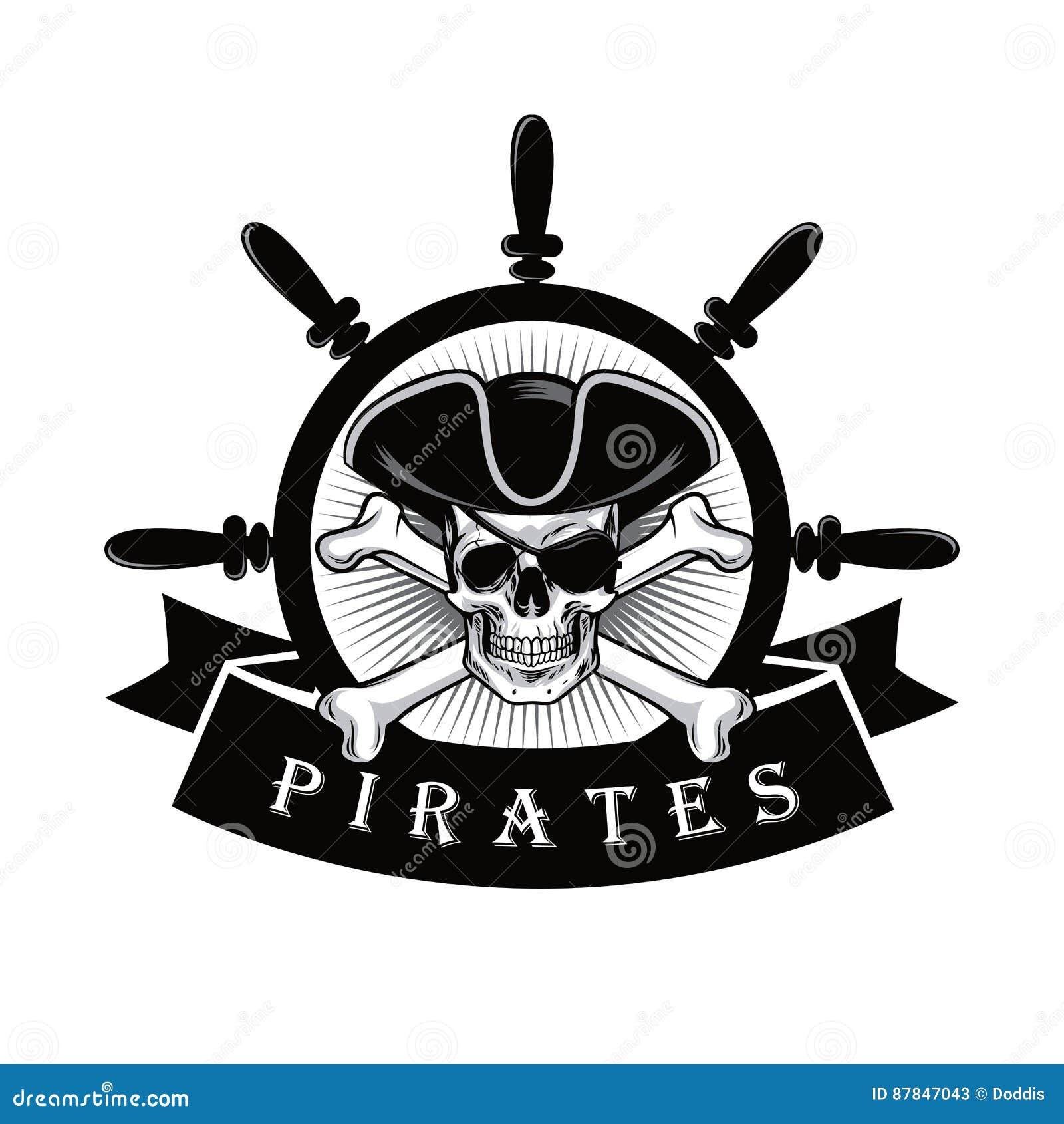 Cráneo Del Pirata Con El Timón Logo Design Vector Illustration Del ...