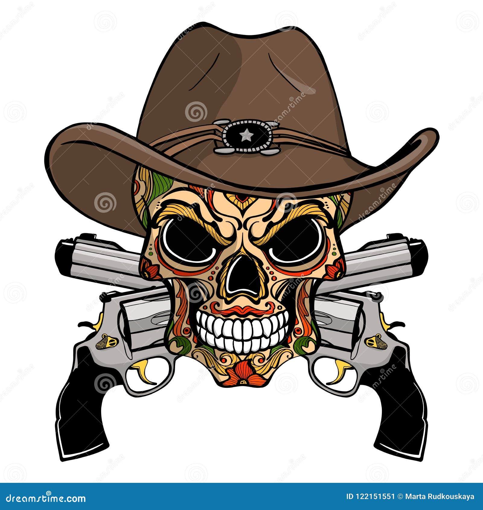Cráneo del vaquero en un sombrero occidental y un par de armas cruzados