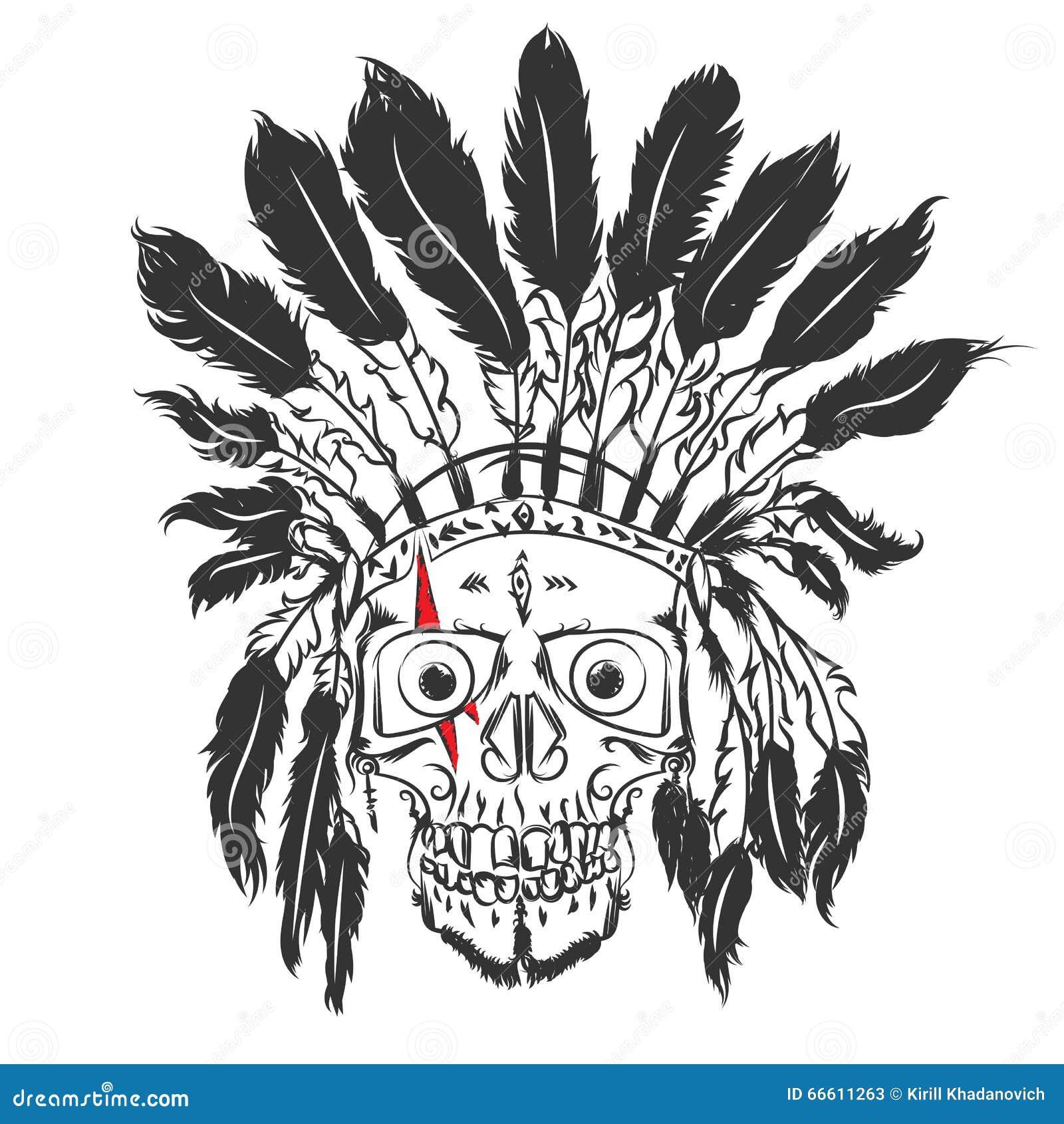 Cráneo Del Vector Indio Del Guerrero Del Nativo Americano Con La ...