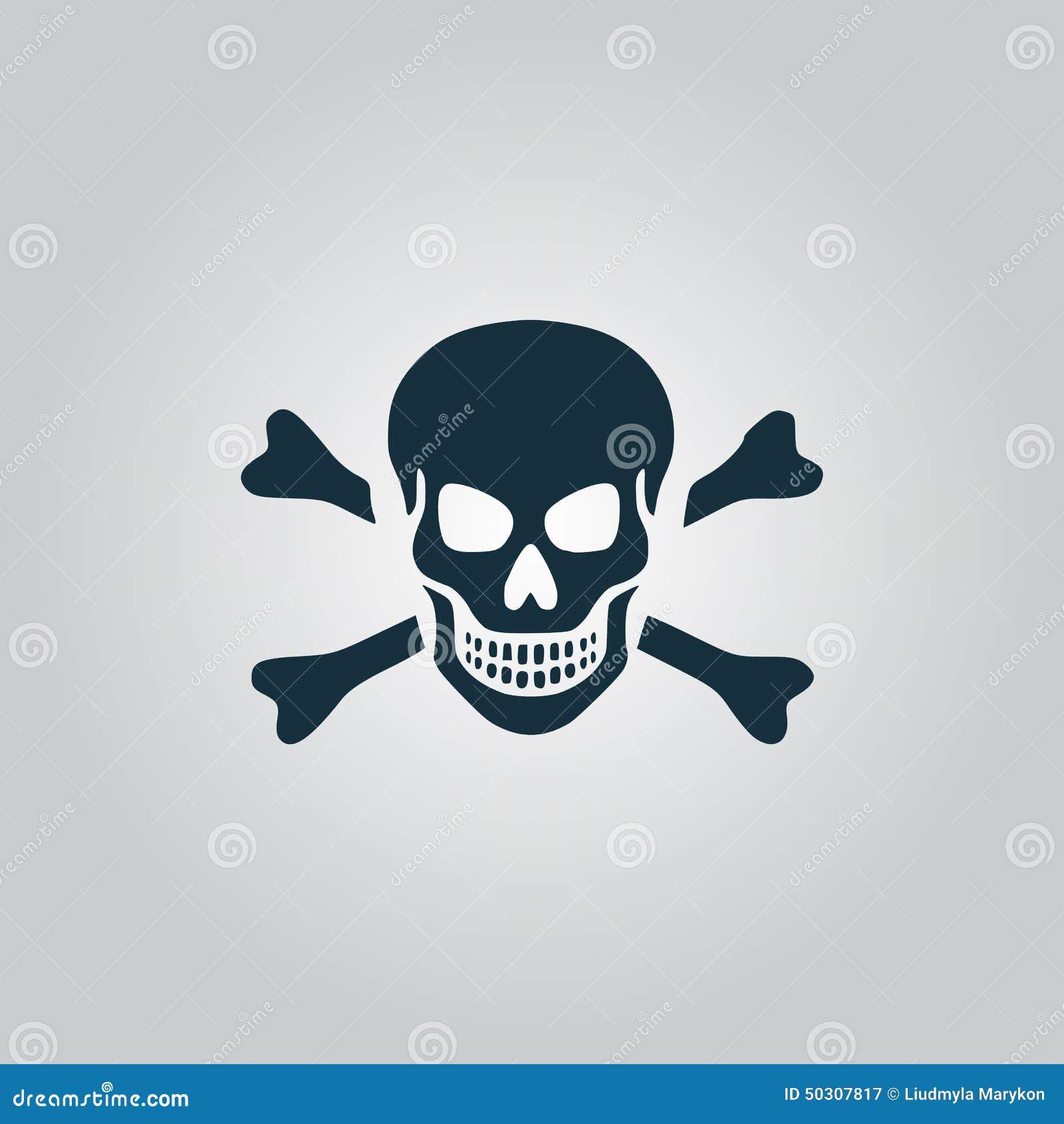 Cráneo e icono de la bandera pirata aislado