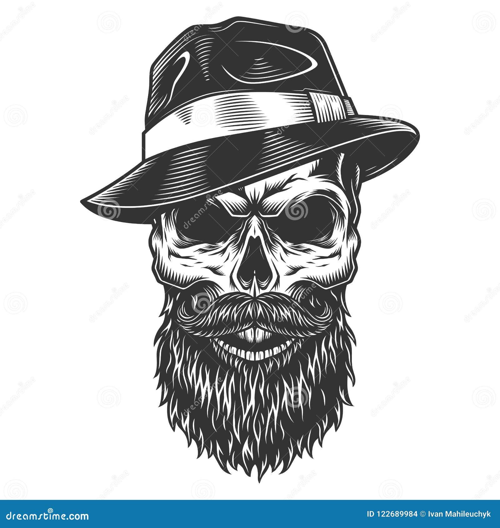 Cráneo En El Sombrero Del Sombrero De Ala Ilustración del Vector ...