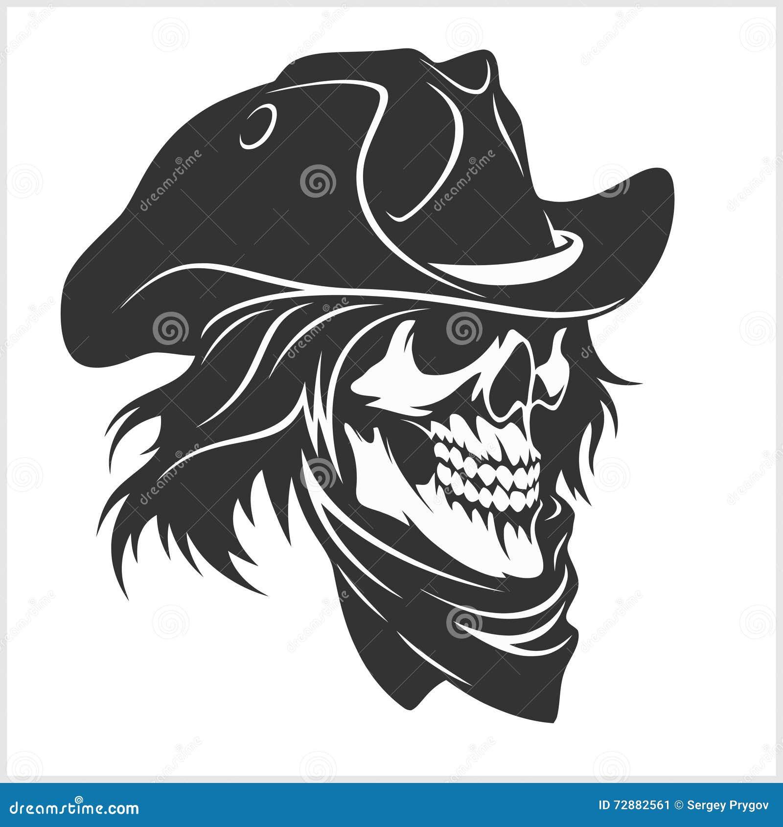 Cráneo En El Sombrero - Gángster Ilustración del Vector ...