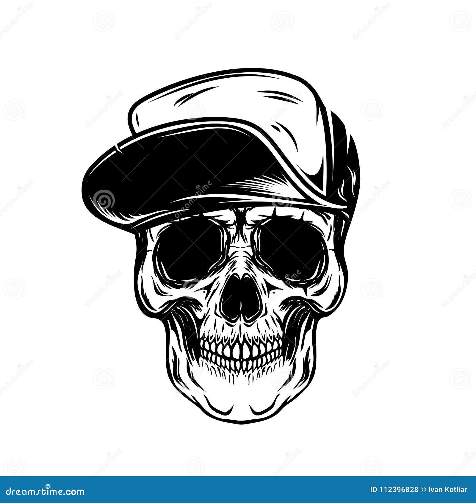 Cráneo En Gorra De Béisbol Diseñe El Elemento Para El Cartel ...