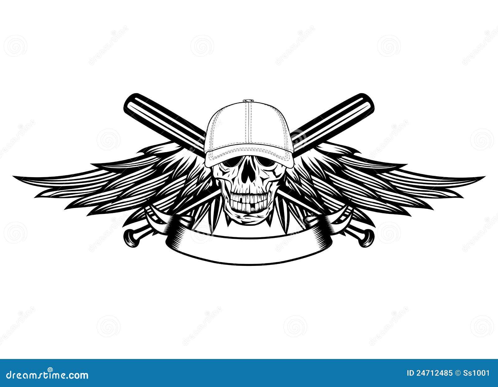 Cráneo en gorra de béisbol ilustración del vector. Ilustración de ...