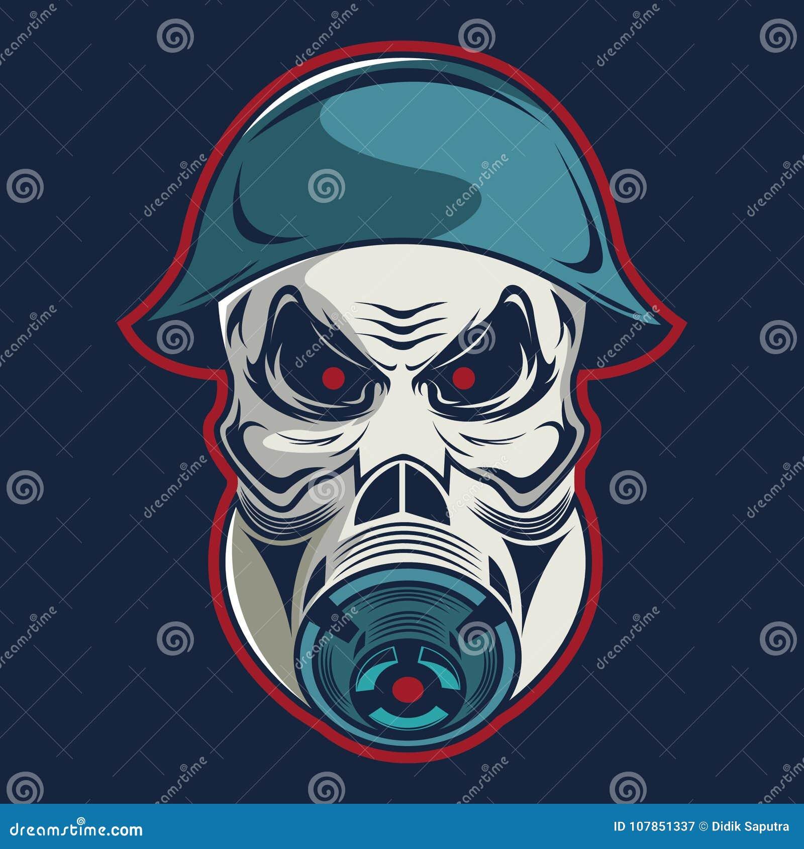 Cráneo en militares del casco y plantilla del logotipo de la careta antigás