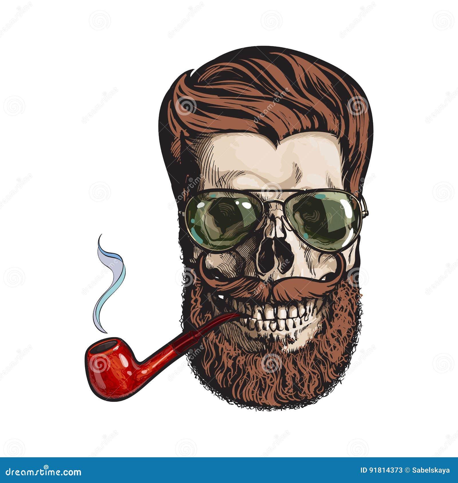 Cráneo Humano Con La Barba Del Inconformista, Gafas De Sol Tipo ...