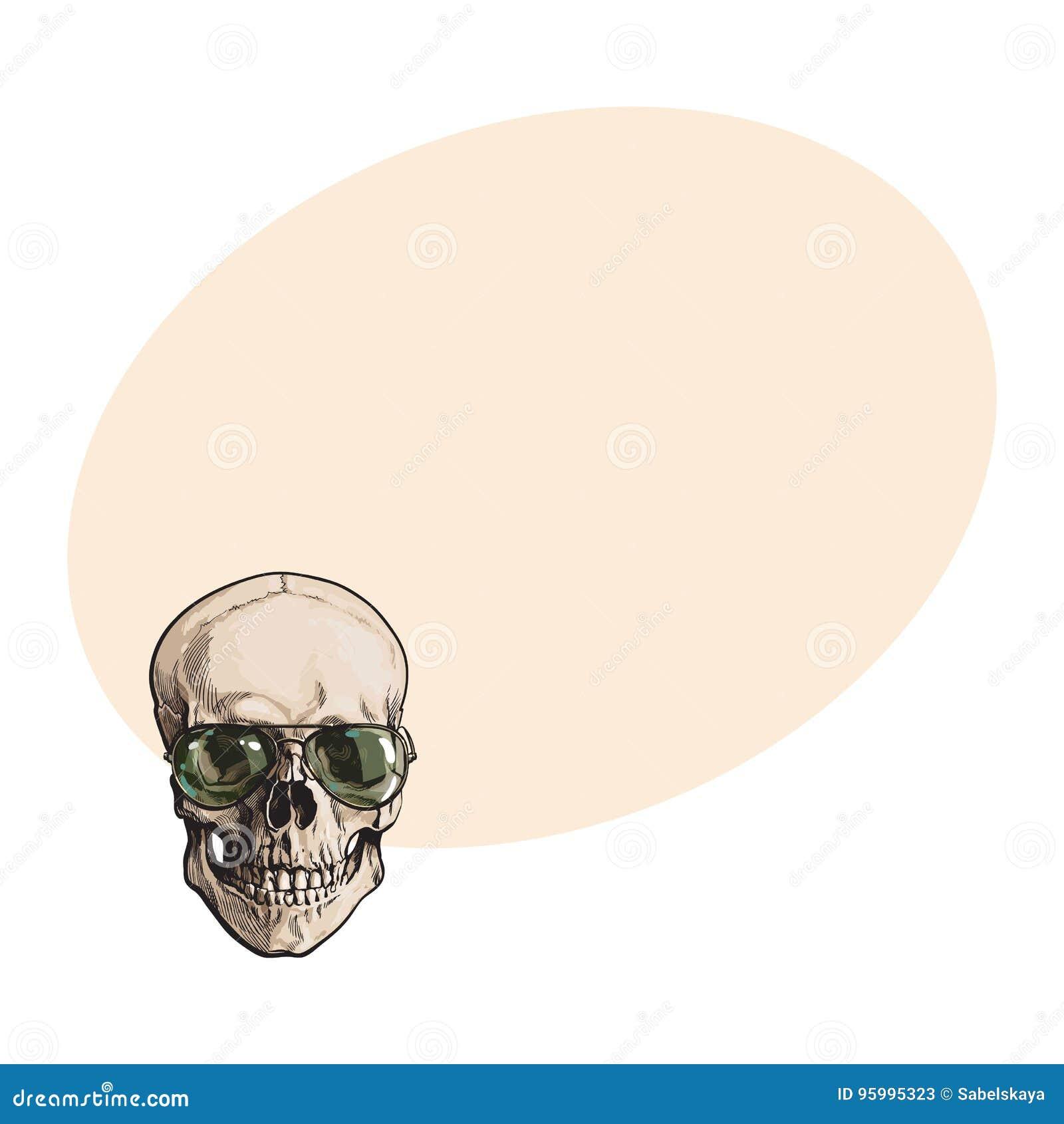 Cráneo Humano Dibujado Mano Que Lleva Las Gafas De Sol Tipo Aviador ...