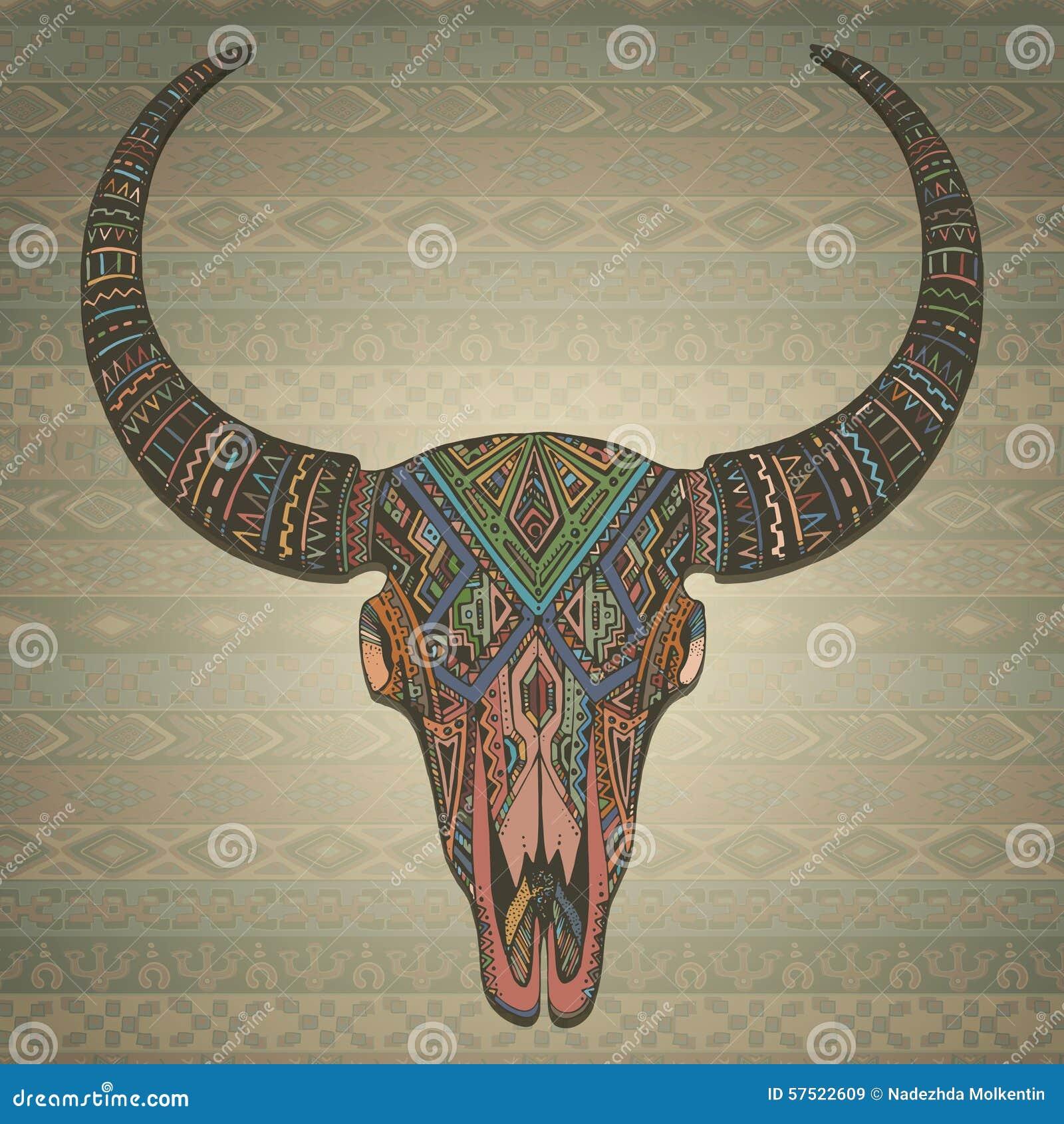 Cráneo Indio Decorativo Del Toro En Estilo Tribal En Ornamental ...