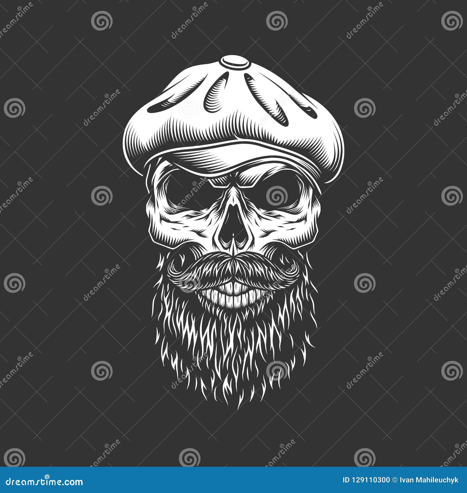Cráneo irlandés del vintage en sombrero gatsby