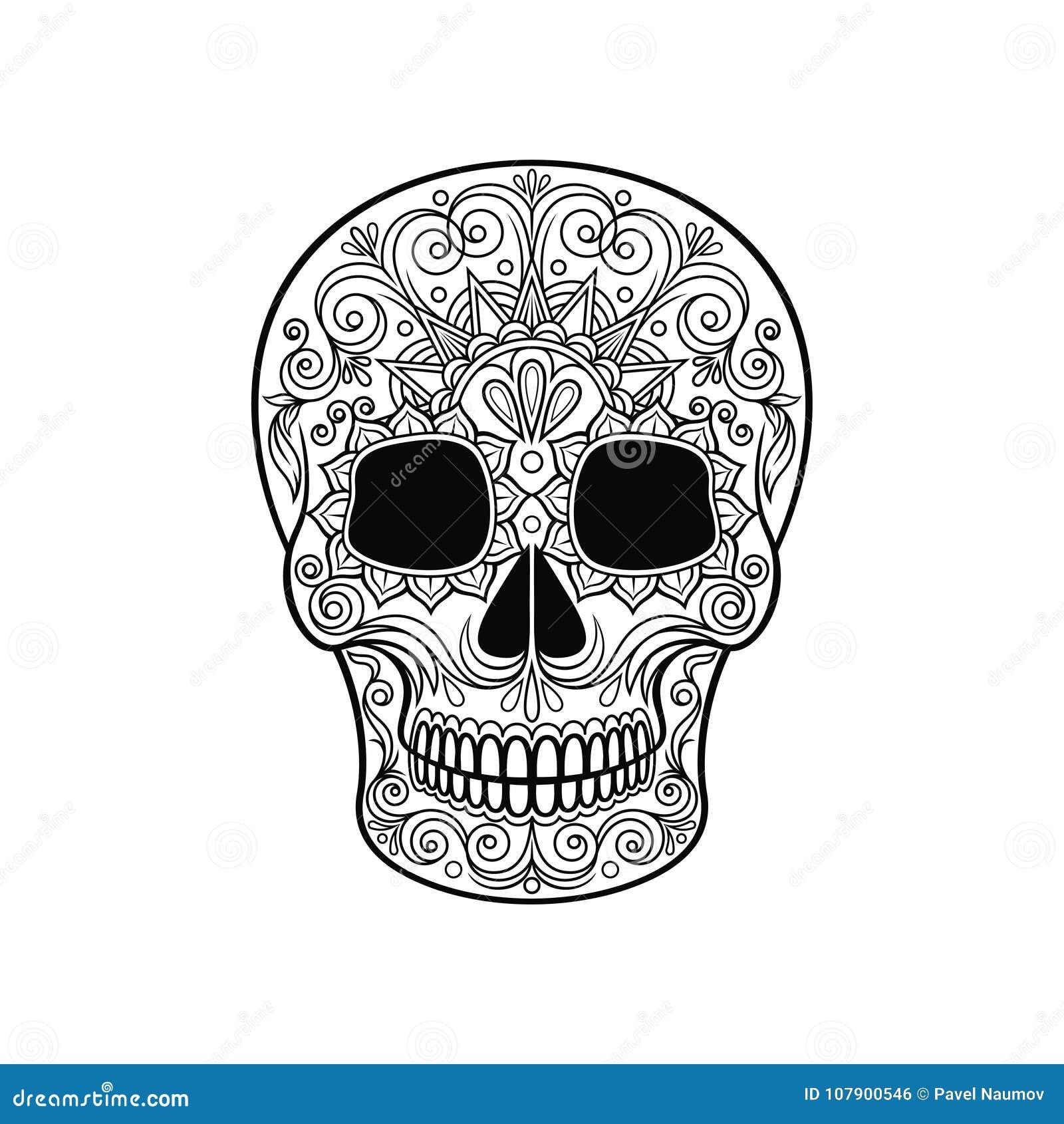 Cráneo Mexicano Del Azúcar Con El Estampado De Flores, Día Del ...