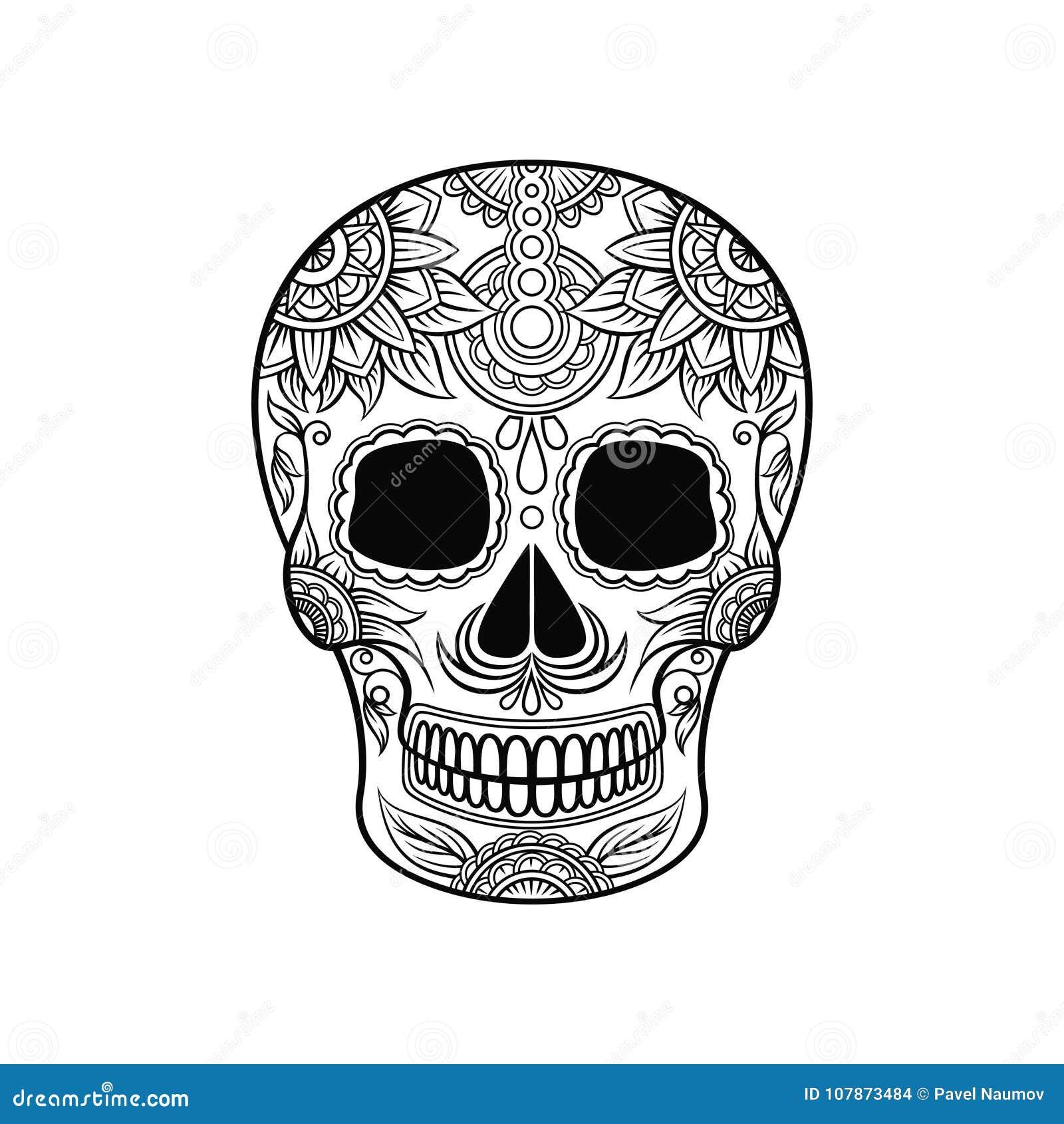 Cráneo Mexicano Del Azúcar Con El Ornamento Floral, Día Del Ejemplo ...