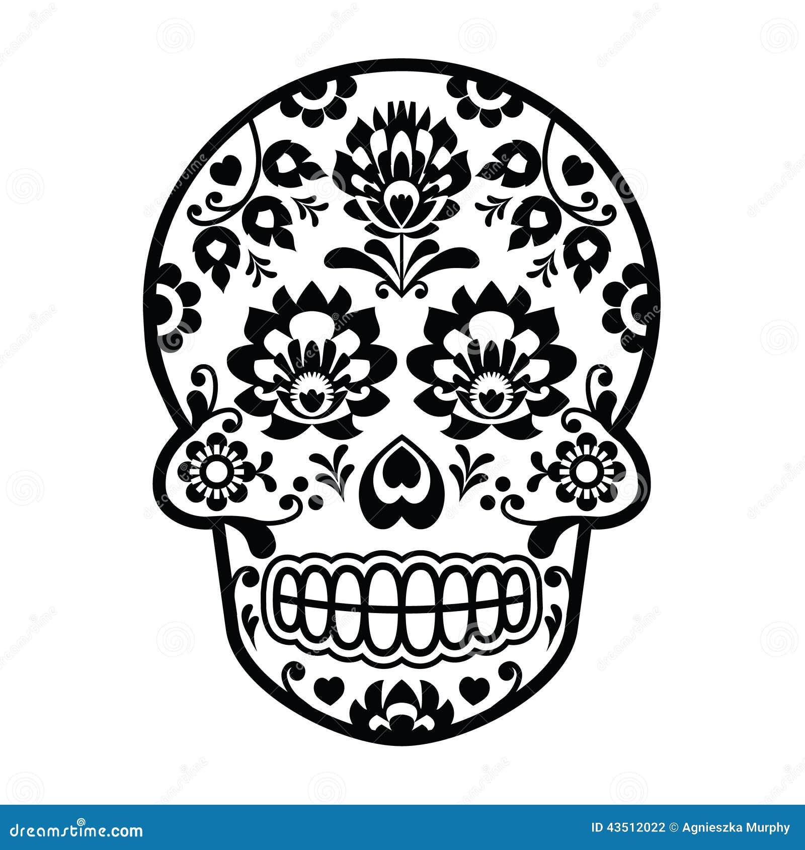 Cráneo Mexicano Del Azúcar - Estilo Polaco Del Arte Popular - Wzory ...