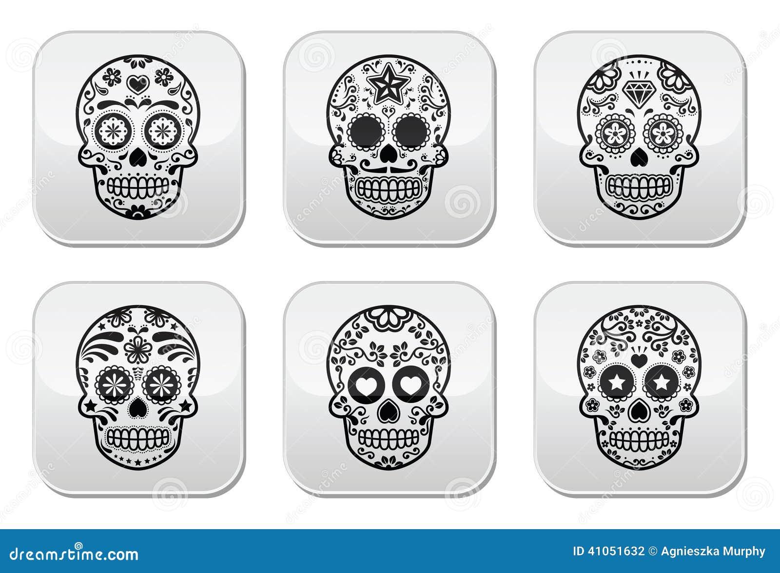 Cráneo Mexicano Del Azúcar, Iconos De Dia De Los Muertos Fijados ...