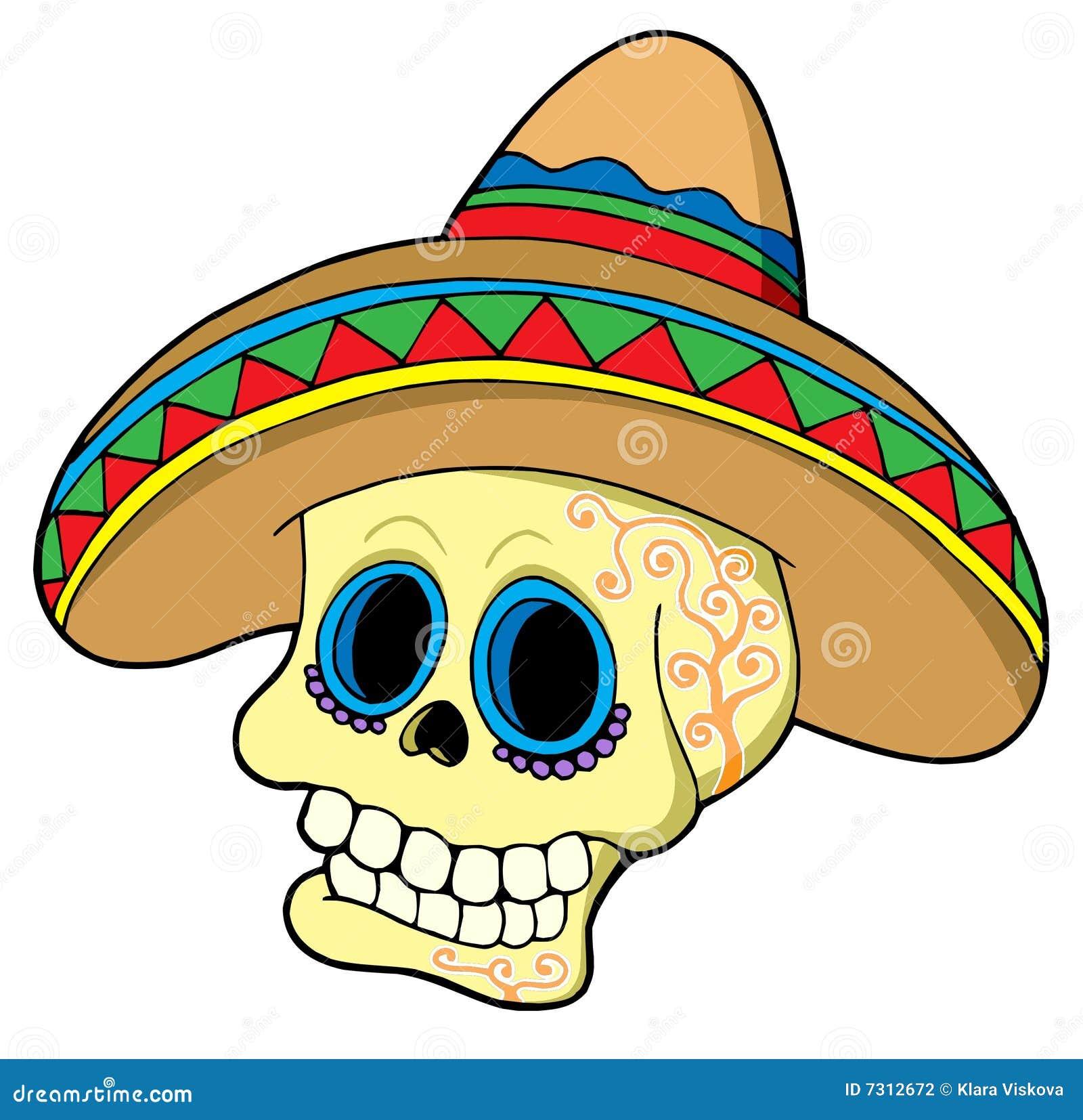 Cráneo Mexicano En Sombrero Ilustración del Vector - Ilustración de ...